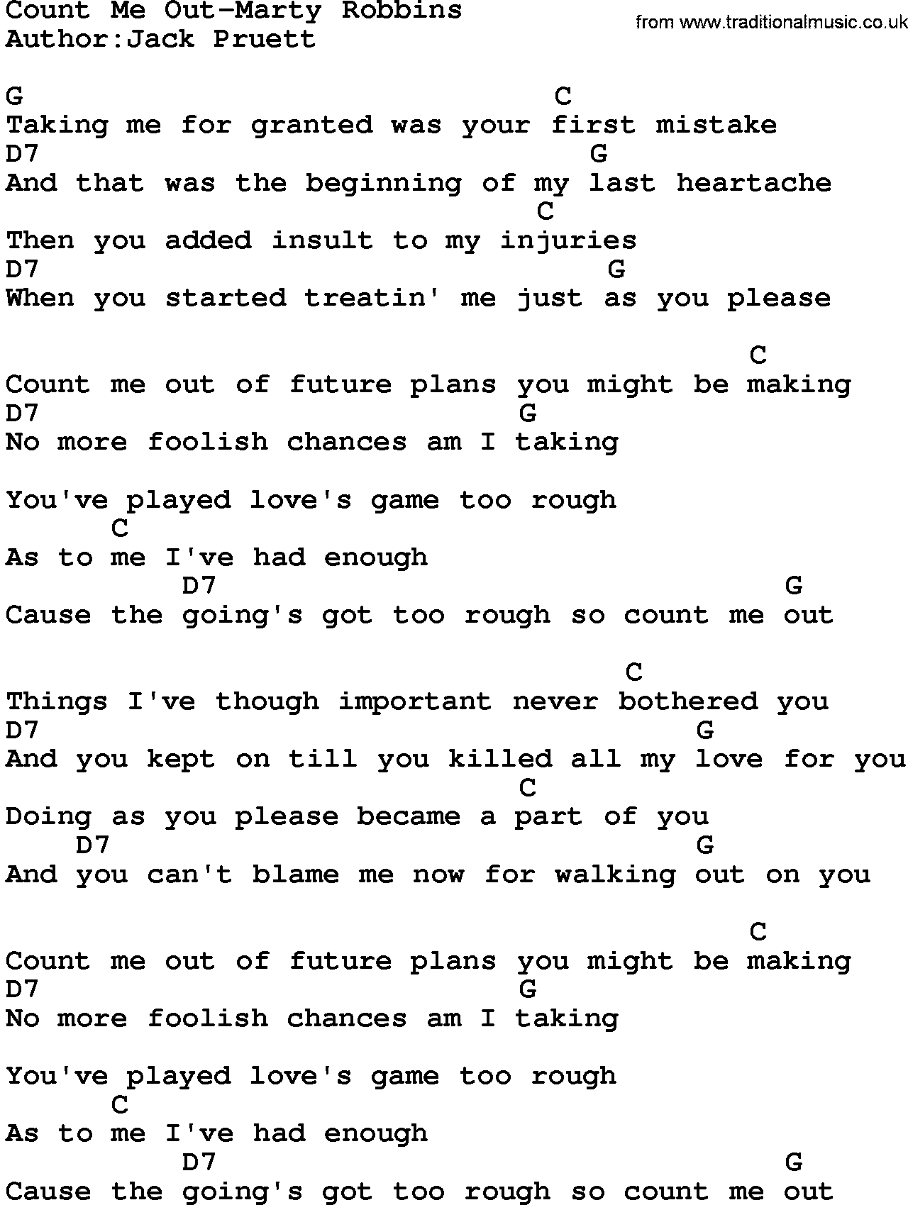 Count On Me Chords Country Musiccount Me Out Marty Robbins Lyrics And Chords