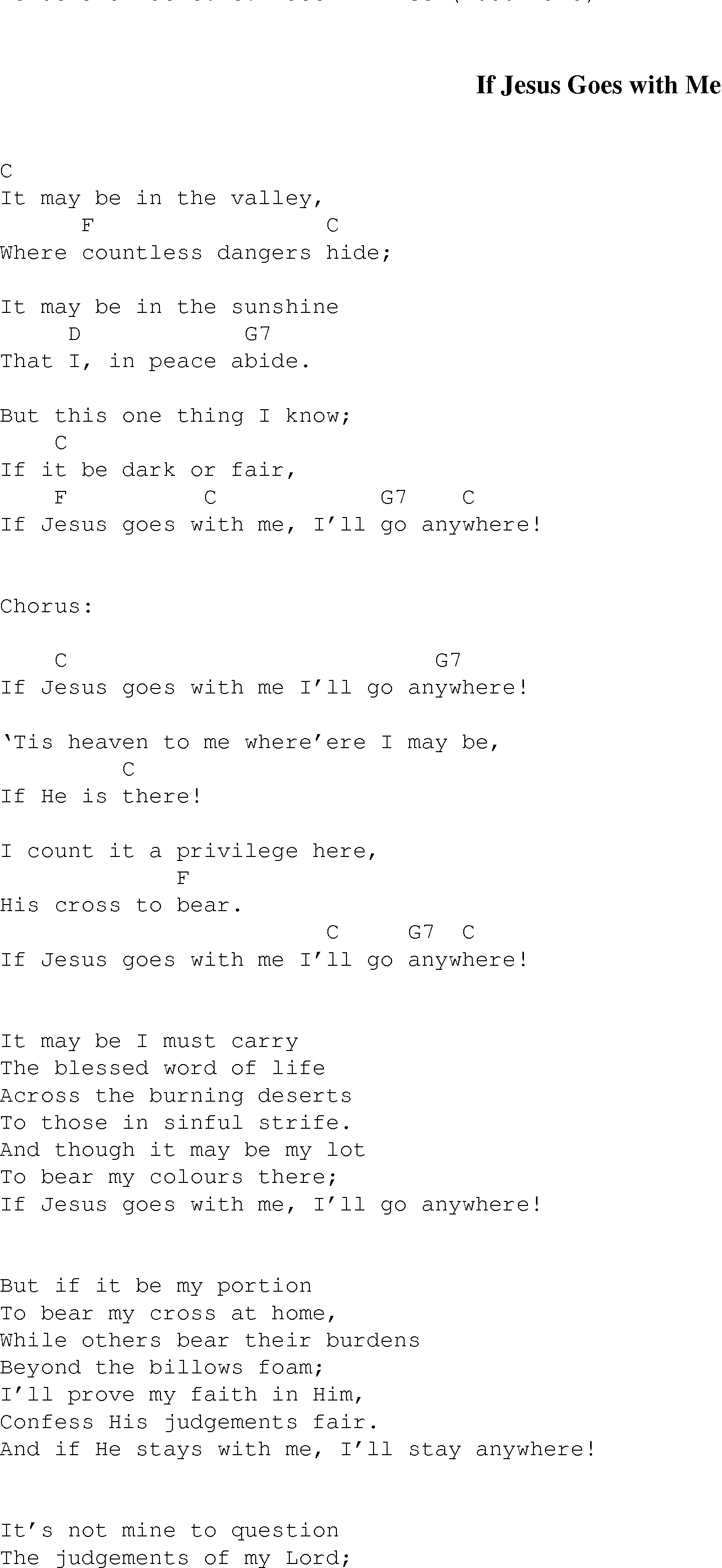 Count On Me Chords If Jesus Goes With Me Christian Gospel Song Lyrics And Chords