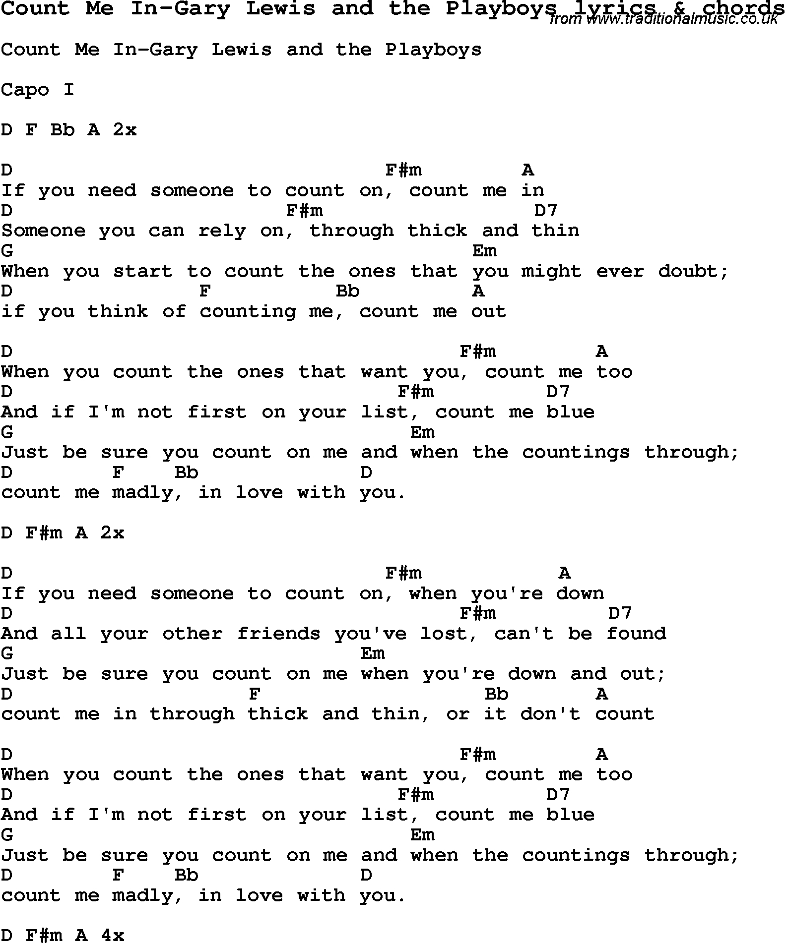 Count On Me Chords Love Song Lyrics Forcount Me In Gary Lewis And The Playboys With