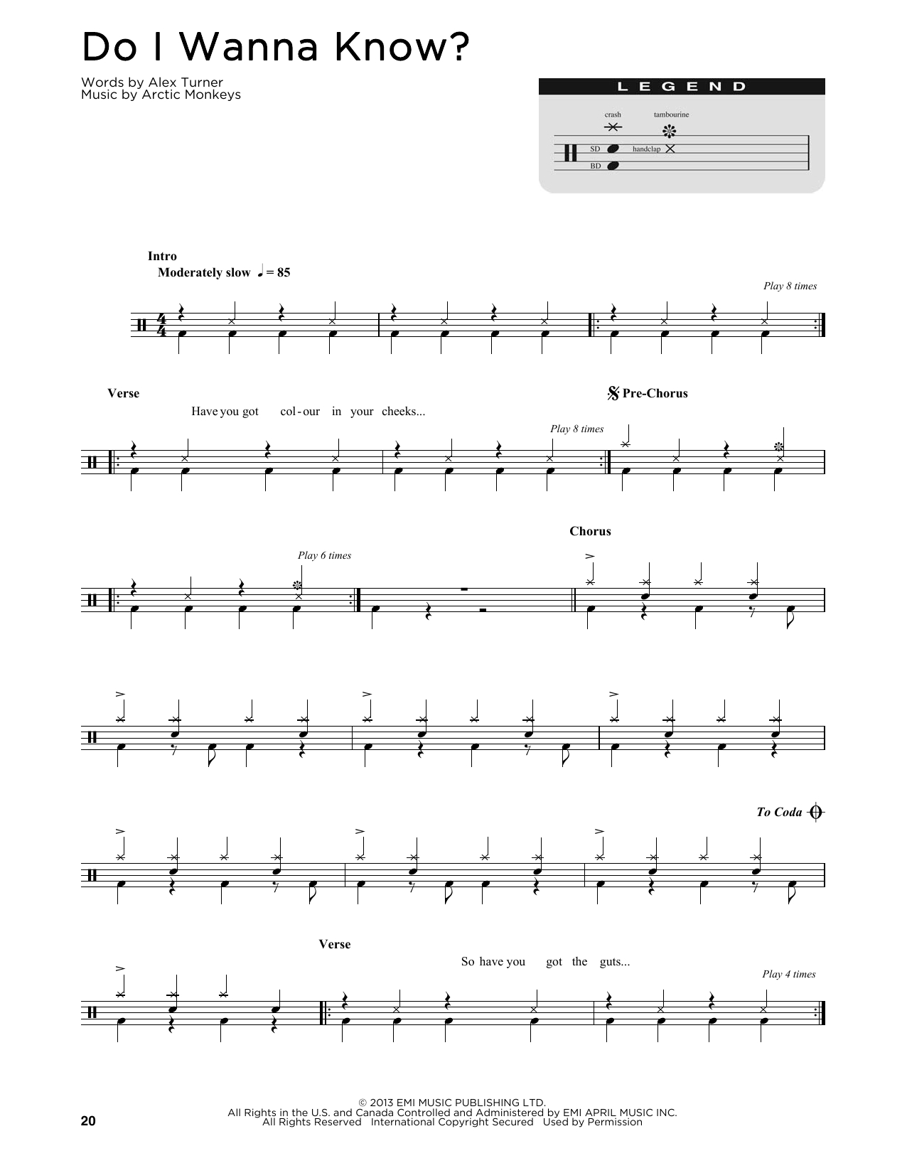 Do I Wanna Know Chords Do I Wanna Know Arctic Monkeys Piano Vocal Guitar Right Hand Melody Digital Sheet Music