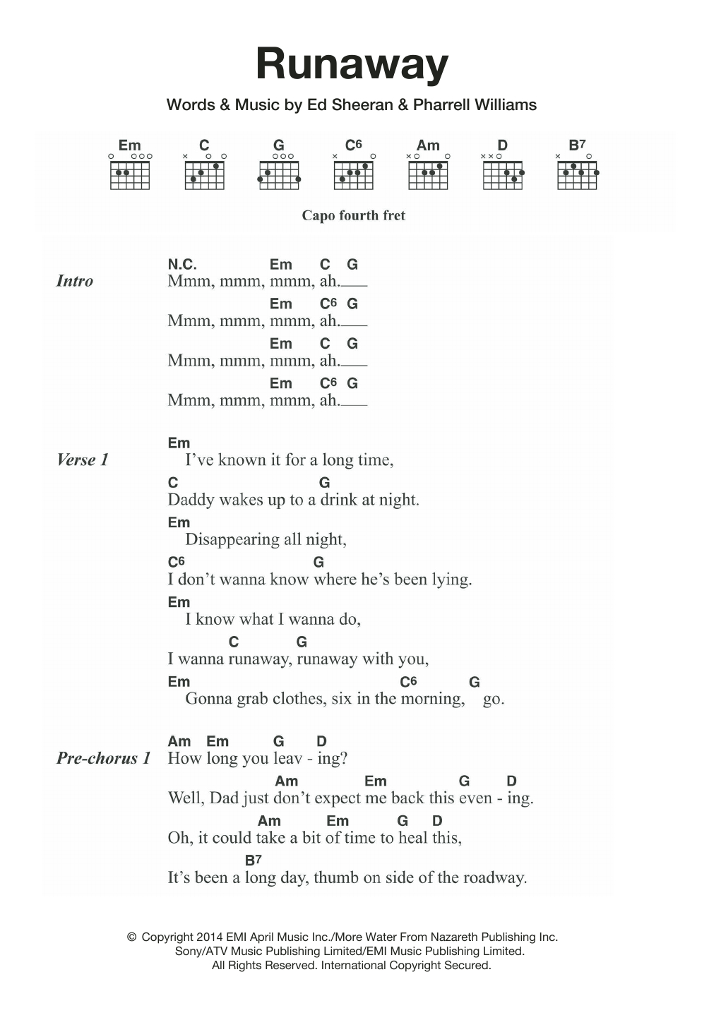 Do I Wanna Know Chords Runaway Ed Sheeran Piano Vocal Guitar Right Hand Melody Digital Sheet Music