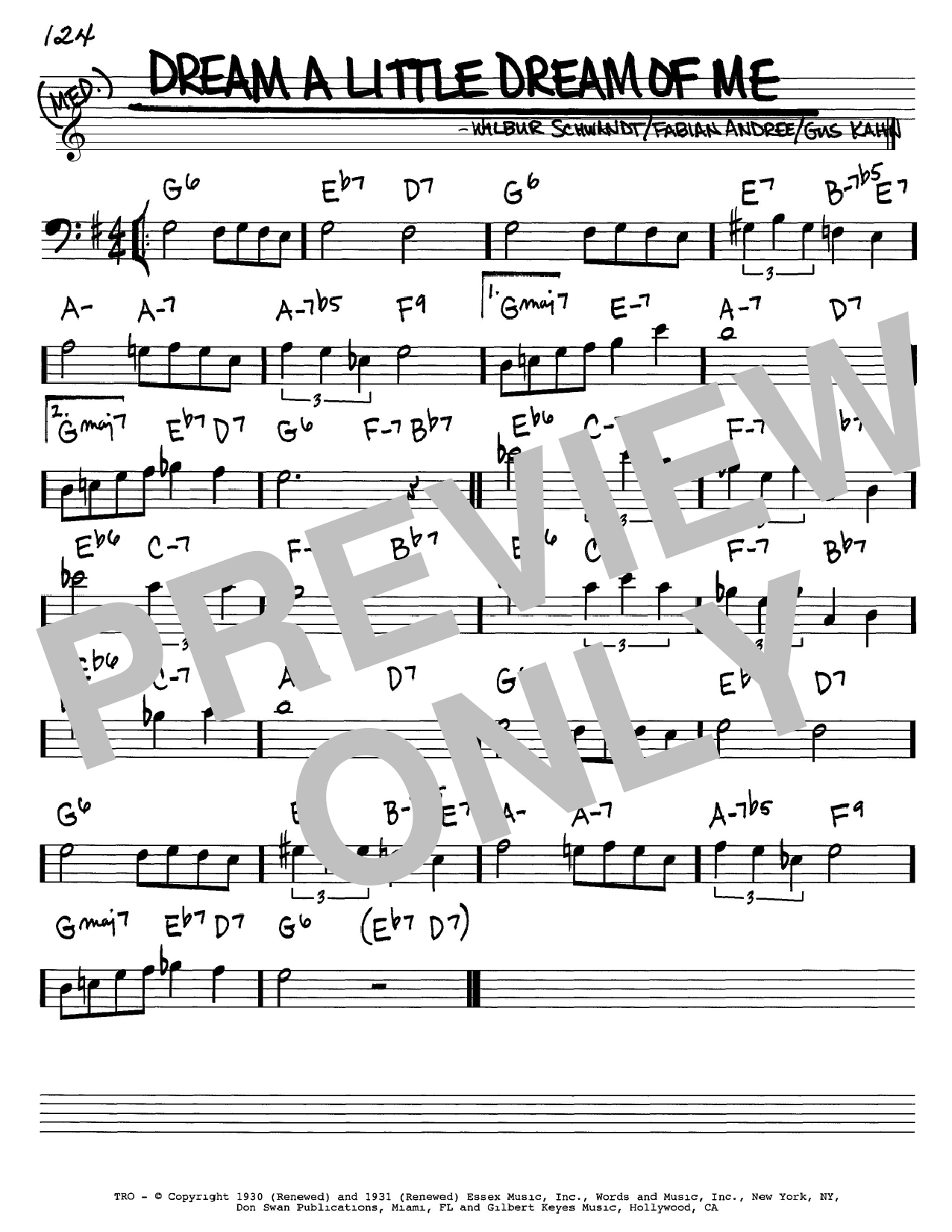 Dream A Little Dream Of Me Chords Dream A Little Dream Of Me Real Book Melody Chords Sheet Music
