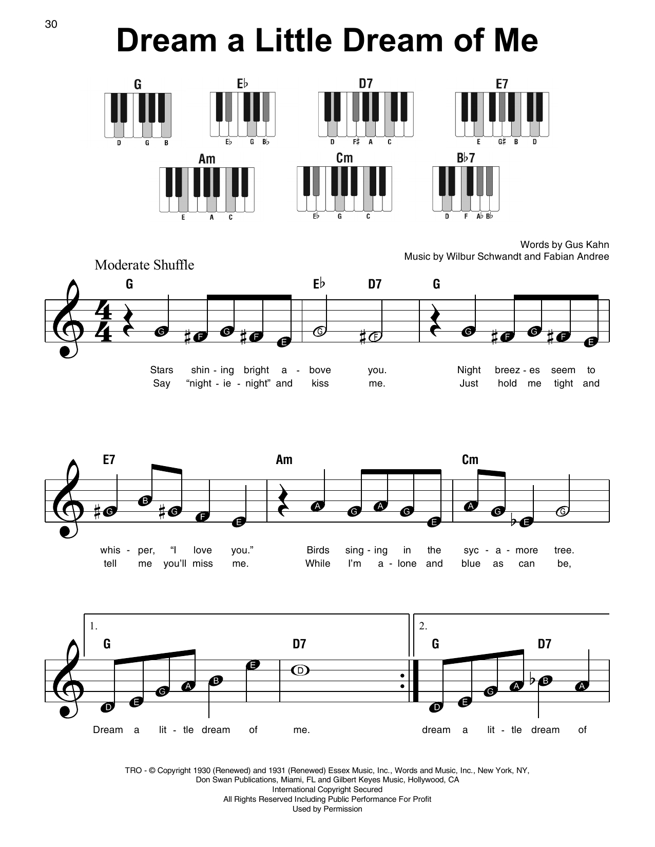 Dream A Little Dream Of Me Chords Dream A Little Dream Of Me Sheet Music To Download