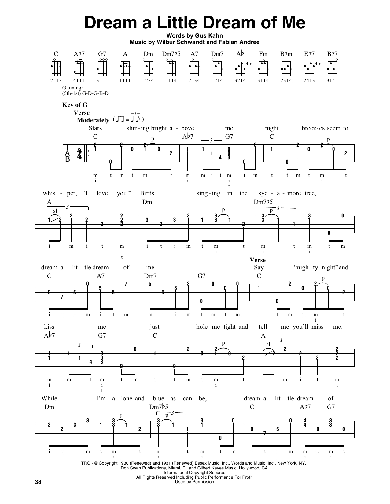 Dream A Little Dream Of Me Chords Sheet Music Digital Files To Print Licensed Wilbur Schwandt
