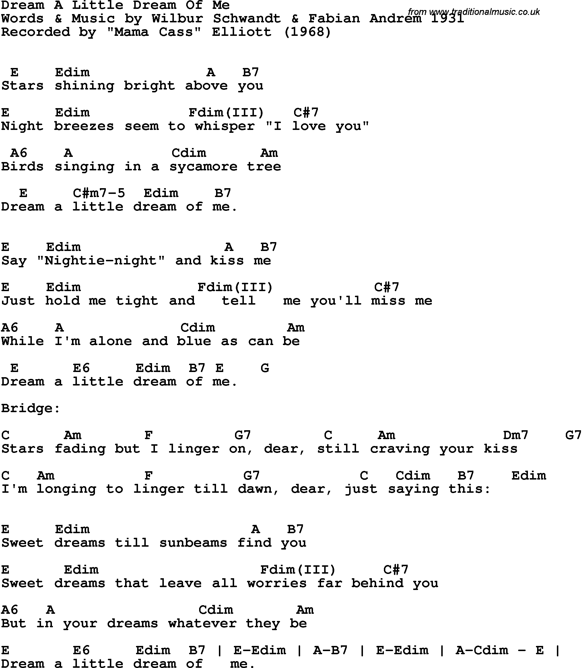 Dream A Little Dream Of Me Chords Song Lyrics With Guitar Chords For Dream A Little Dream Of Me Mama