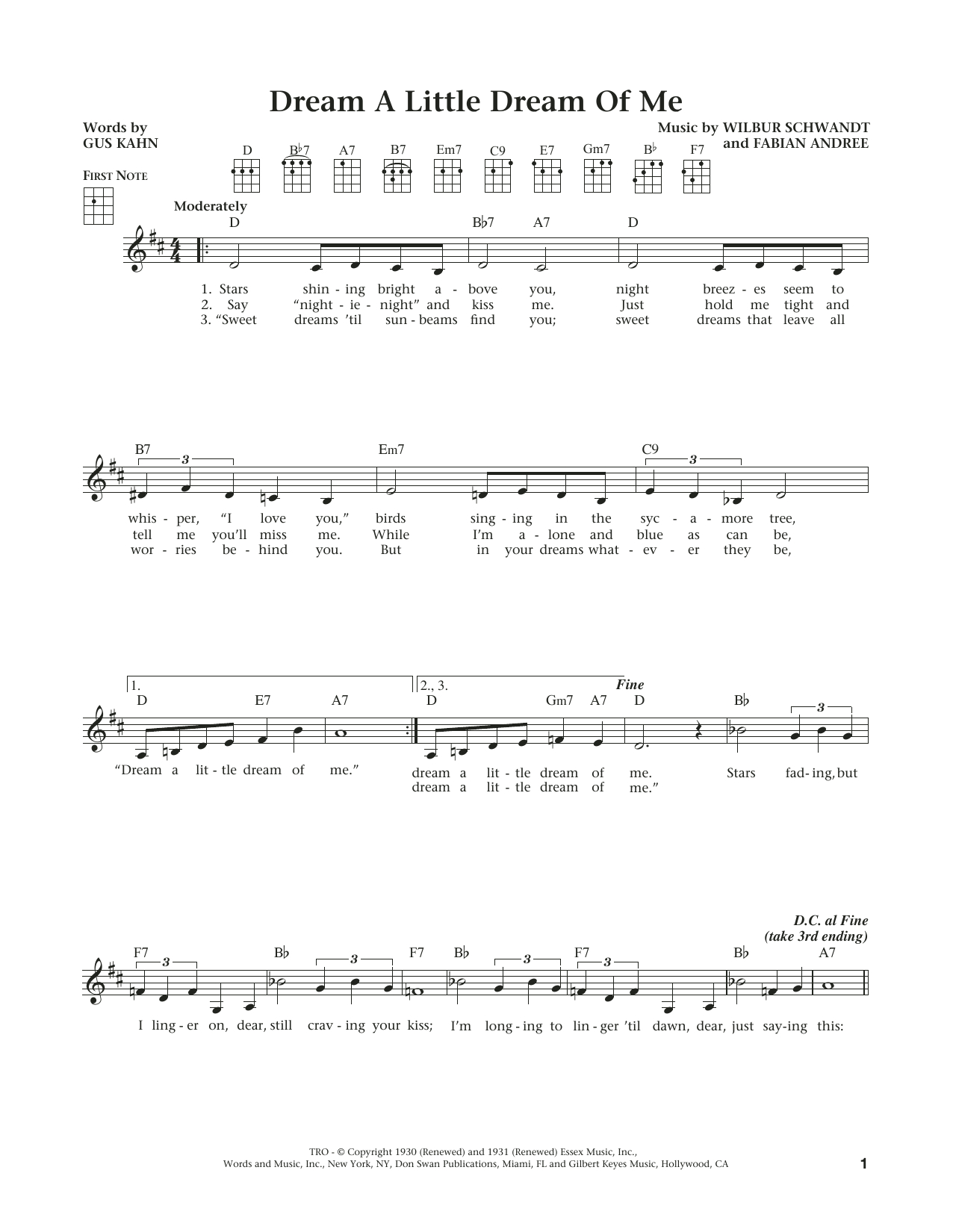 Dream A Little Dream Of Me Chords The Mamas The Papas Dream A Little Dream Of Me Sheet Music Notes Chords Download Printable Ukulele Sku 184154