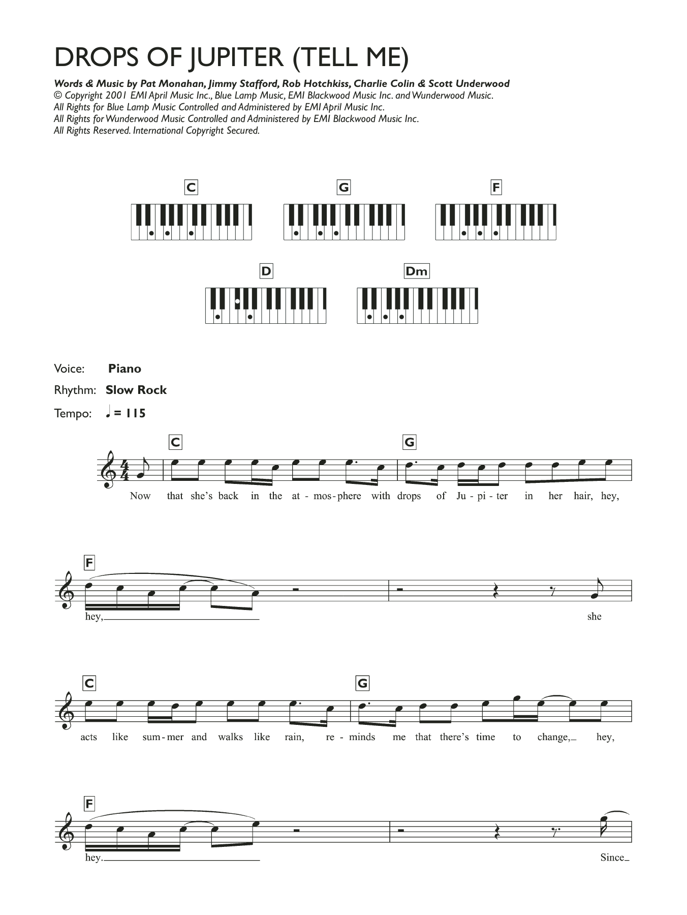 Drops Of Jupiter Chords Drops Of Jupiter Tell Me Sheet Music To Download