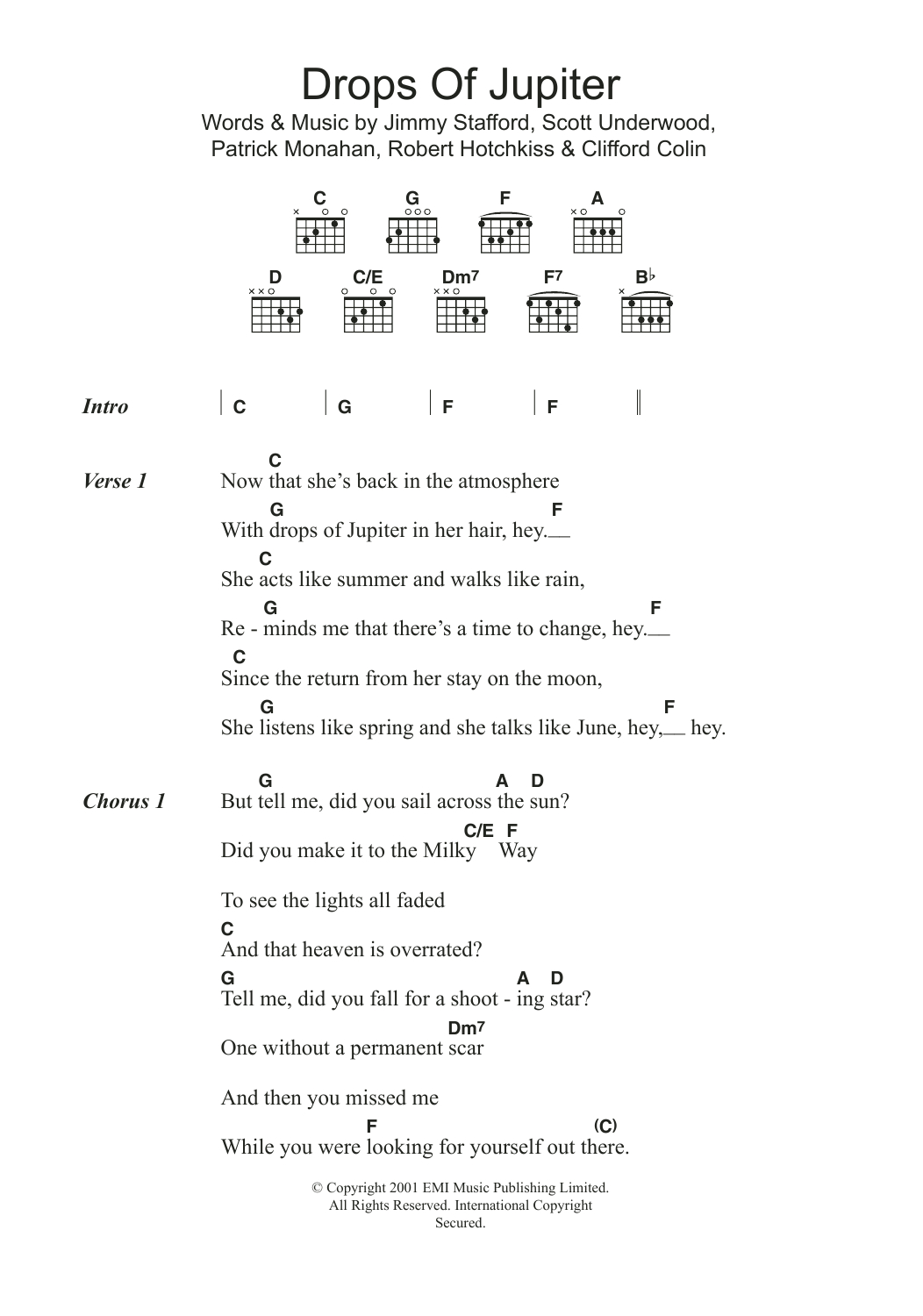 Drops Of Jupiter Chords Drops Of Jupiter Tell Me Train Guitar Chordslyrics Guitar