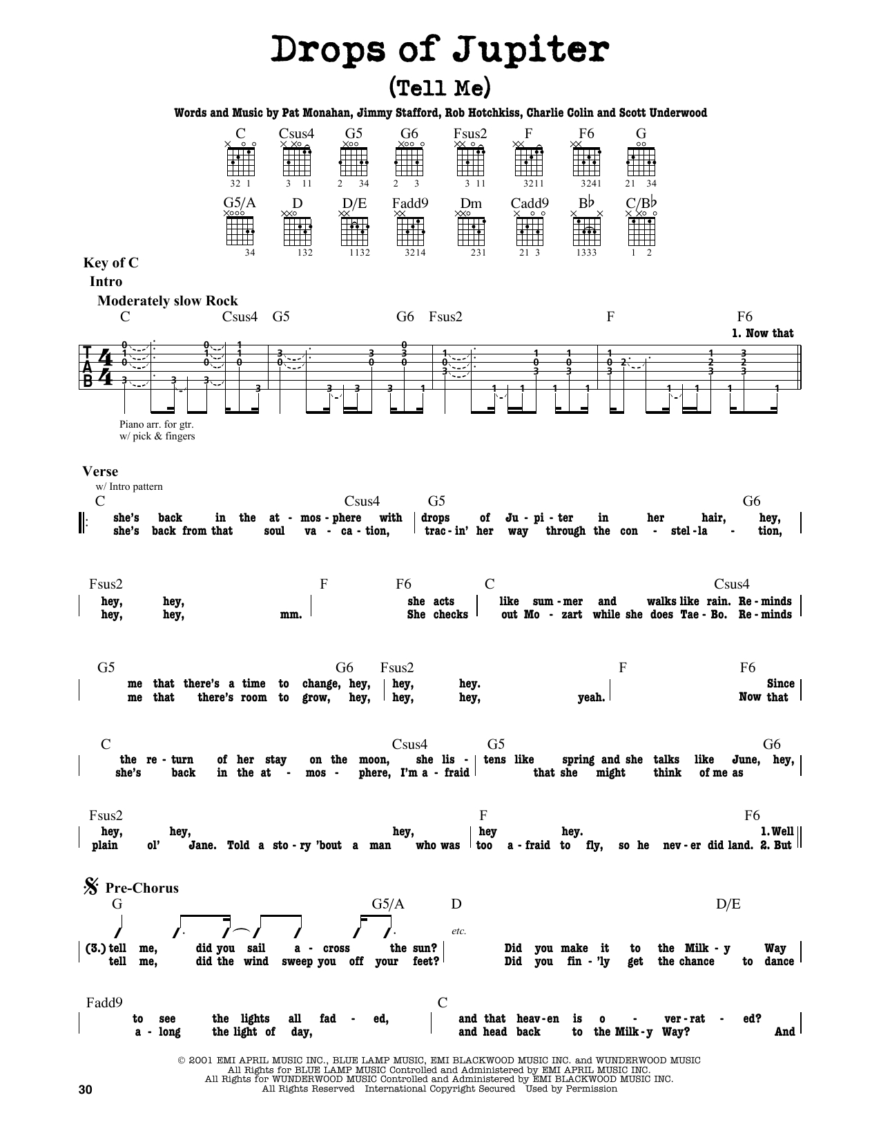 Drops Of Jupiter Chords Drops Of Jupiter Tell Me Train Guitar Lead Sheet Guitar