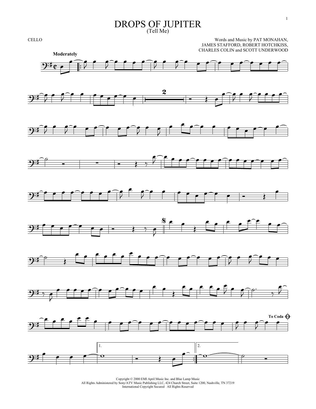 Drops Of Jupiter Chords Sheet Music Digital Files To Print Licensed Scott Underwood