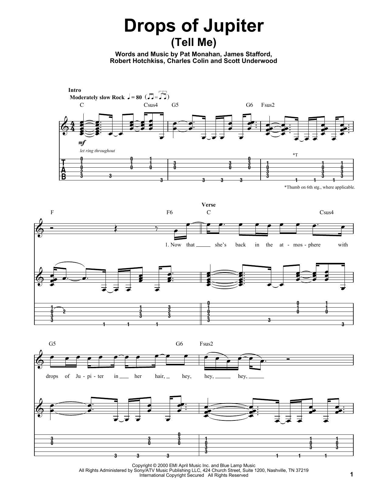 Drops Of Jupiter Chords Train Drops Of Jupiter Tell Me Sheet Music Notes Chords Download Printable Guitar Tab Play Along Sku 177314
