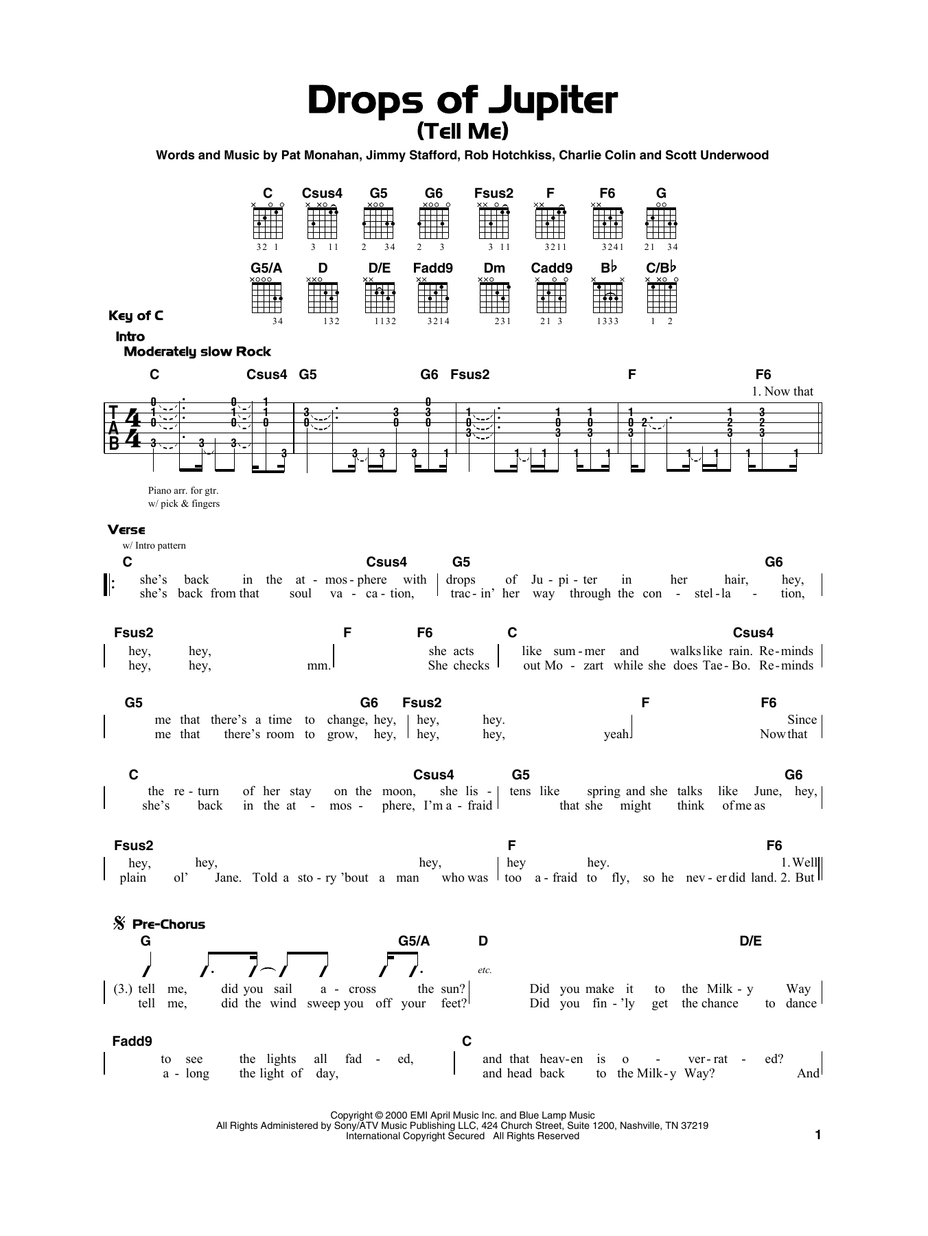 Drops Of Jupiter Chords Train Drops Of Jupiter Tell Me Sheet Music Notes Chords Download Printable Really Easy Guitar Sku 415304