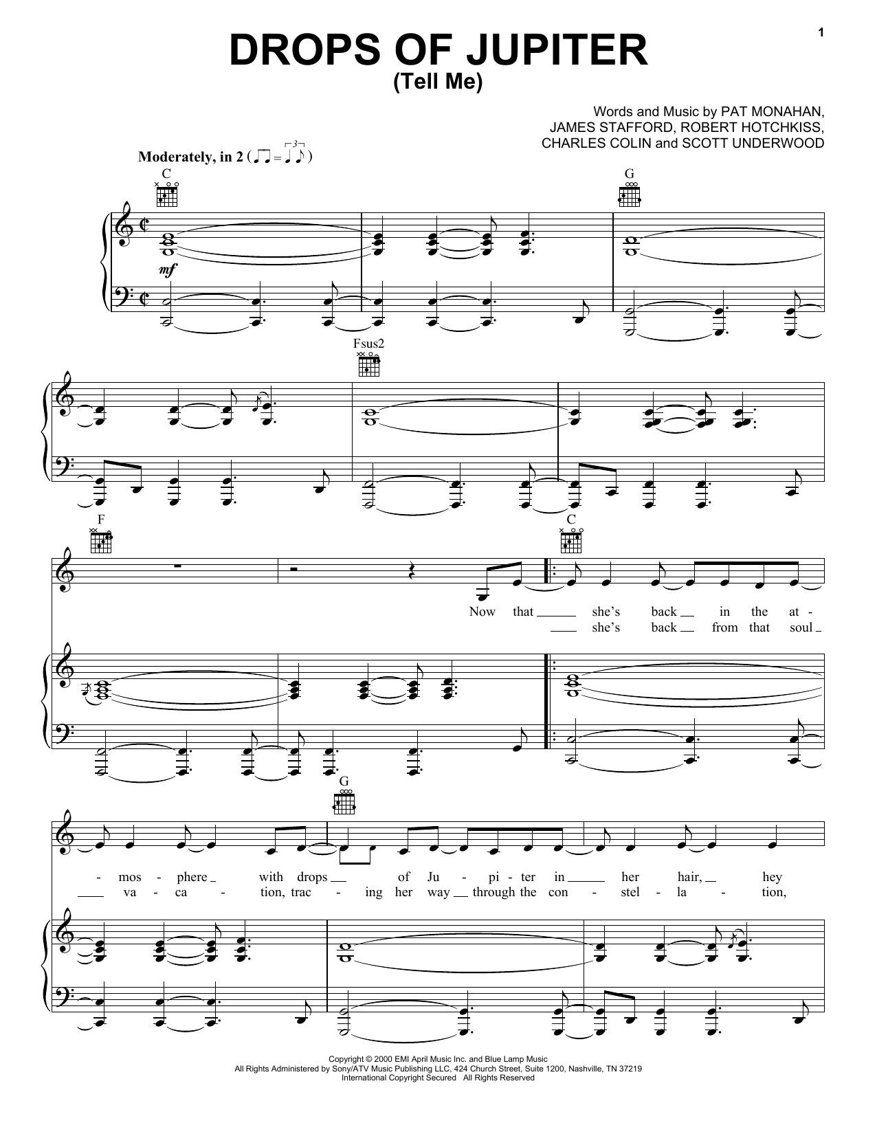 Drops Of Jupiter Chords Train Drops Of Jupiter Tell Me Sheet Music Notes Chords Download Printable Vpropg Sku 405260