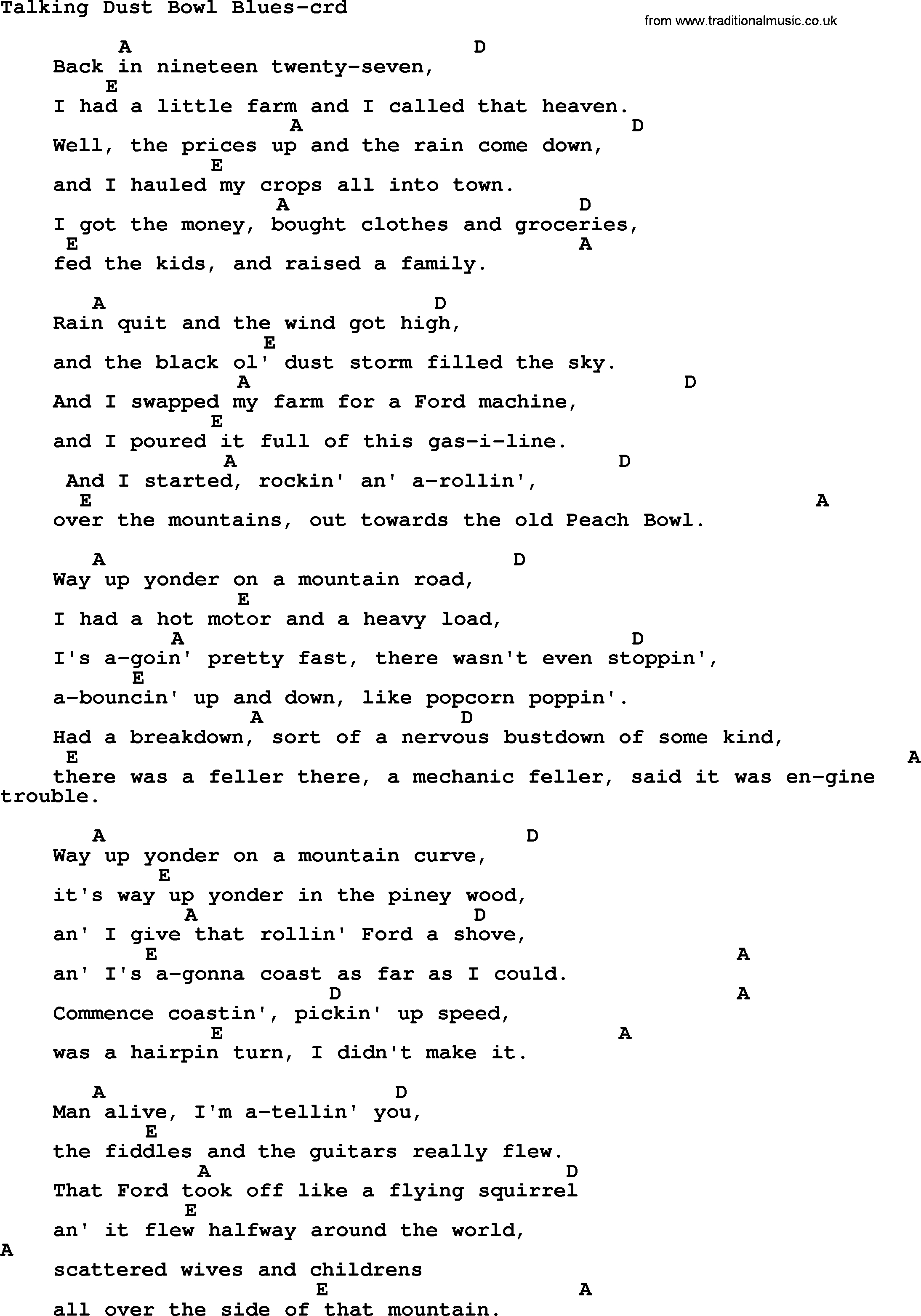 Dust In The Wind Chords Woody Guthrie Song Talking Dust Bowl Blues Lyrics And Chords