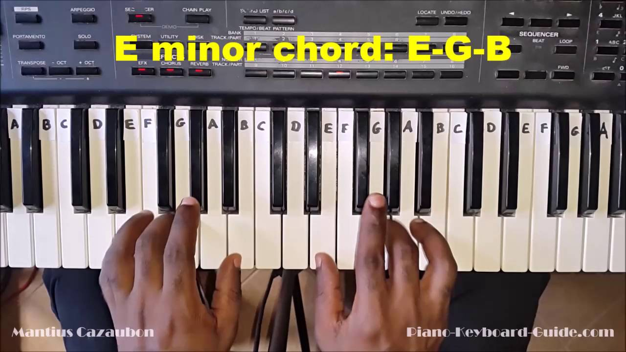 E Minor Chord How To Play The E Minor Chord On Piano And Keyboard Em Emin