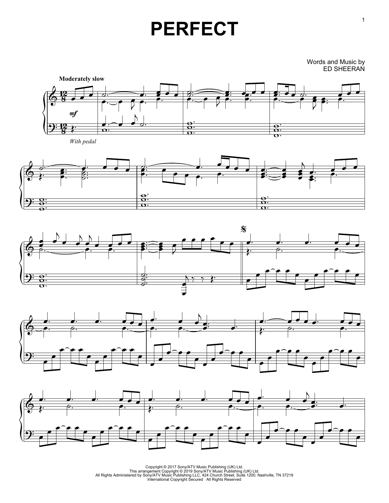 Ed Sheeran Chords Ed Sheeran Perfect Sheet Music Notes Chords Download Printable Piano Solo Sku 415650