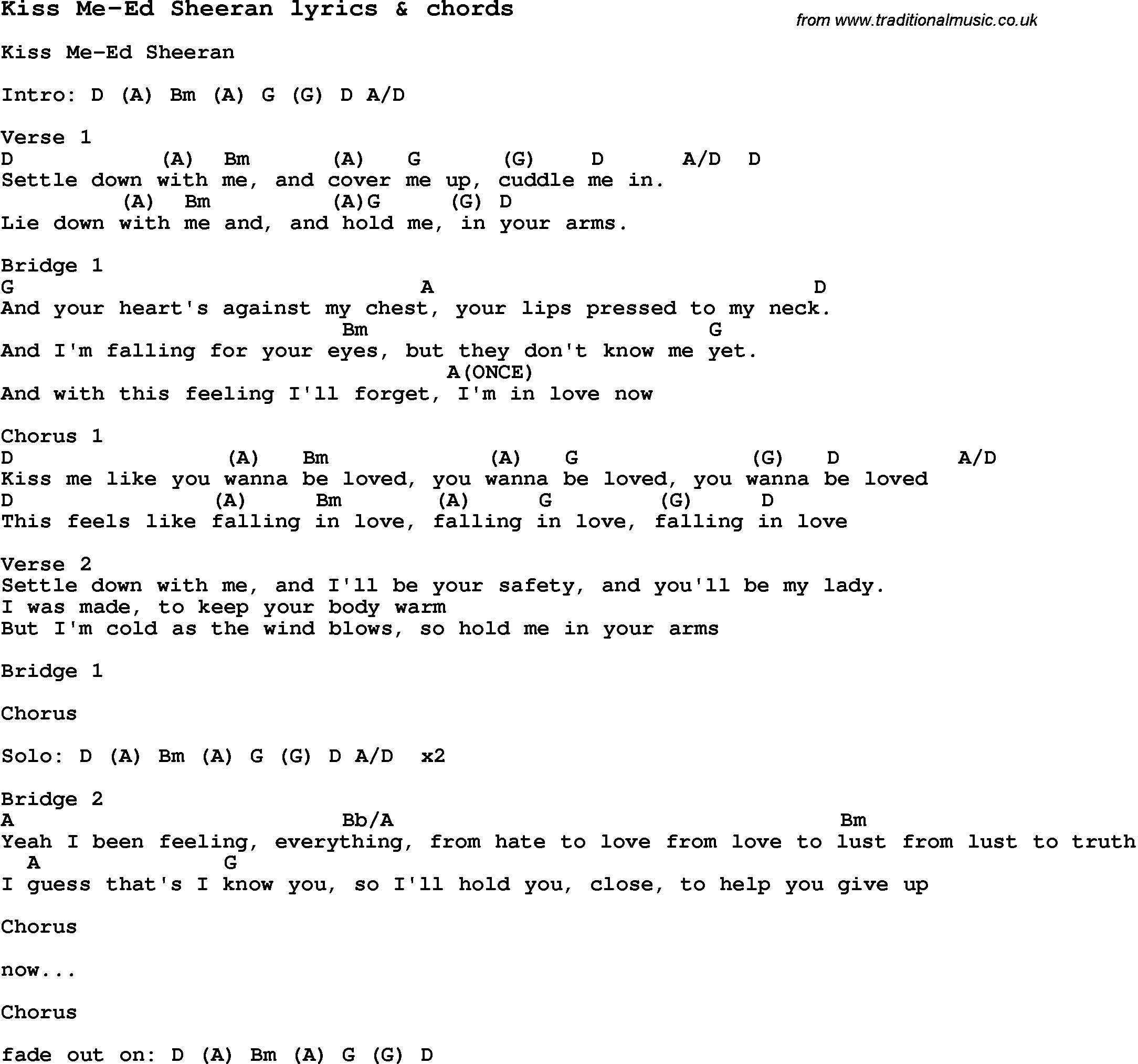 Ed Sheeran Chords Love Song Lyrics Forkiss Me Ed Sheeran With Chords