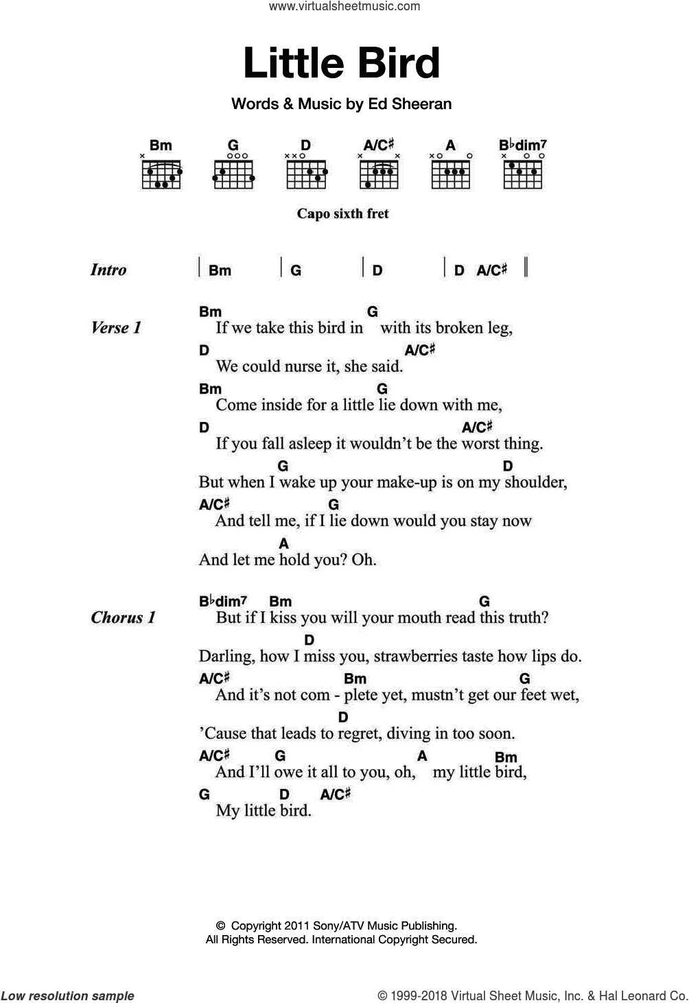 Ed Sheeran Chords Sheeran Little Bird Sheet Music For Guitar Chords Pdf