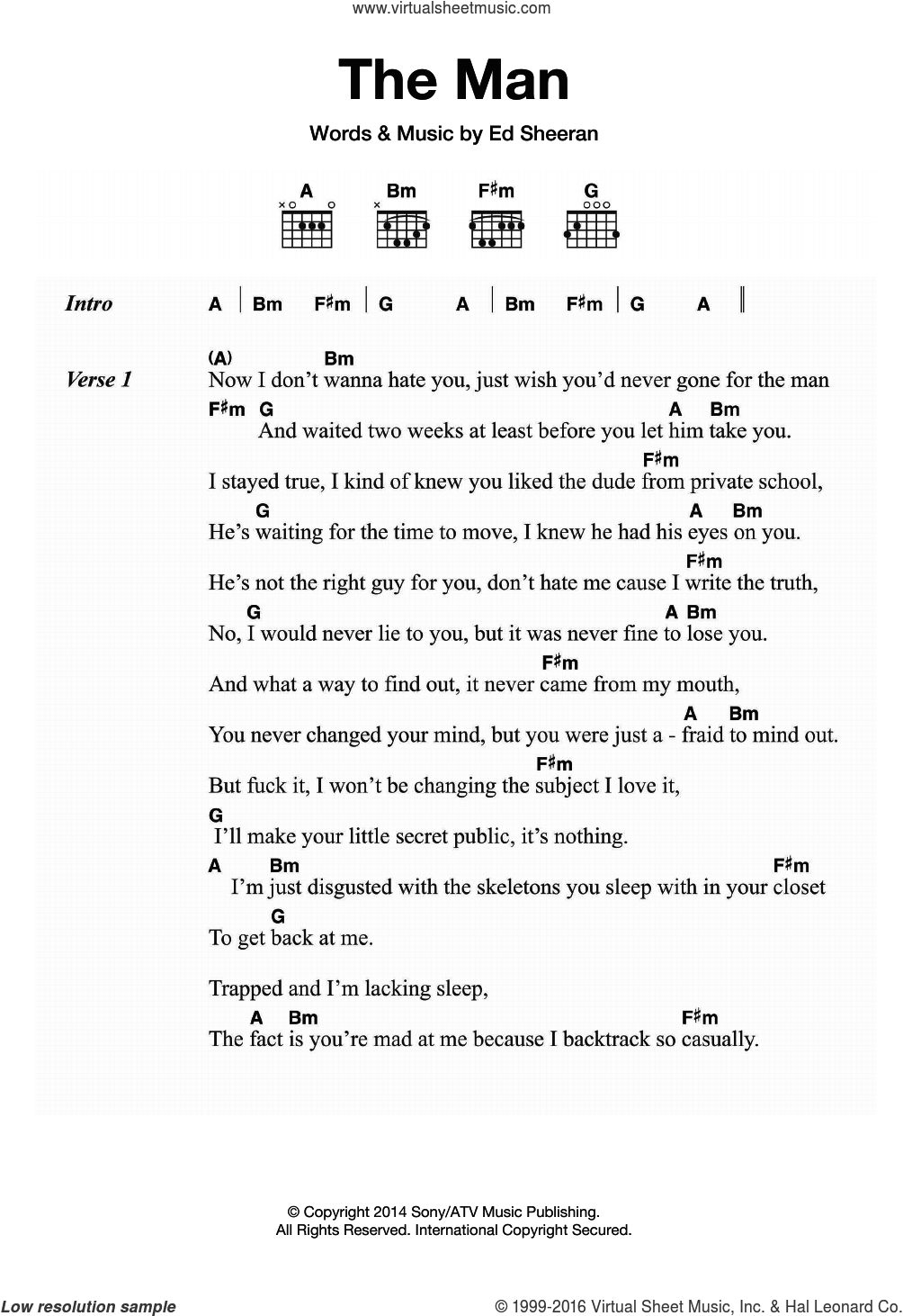 Ed Sheeran Chords Sheeran The Man Sheet Music For Guitar Chords Pdf