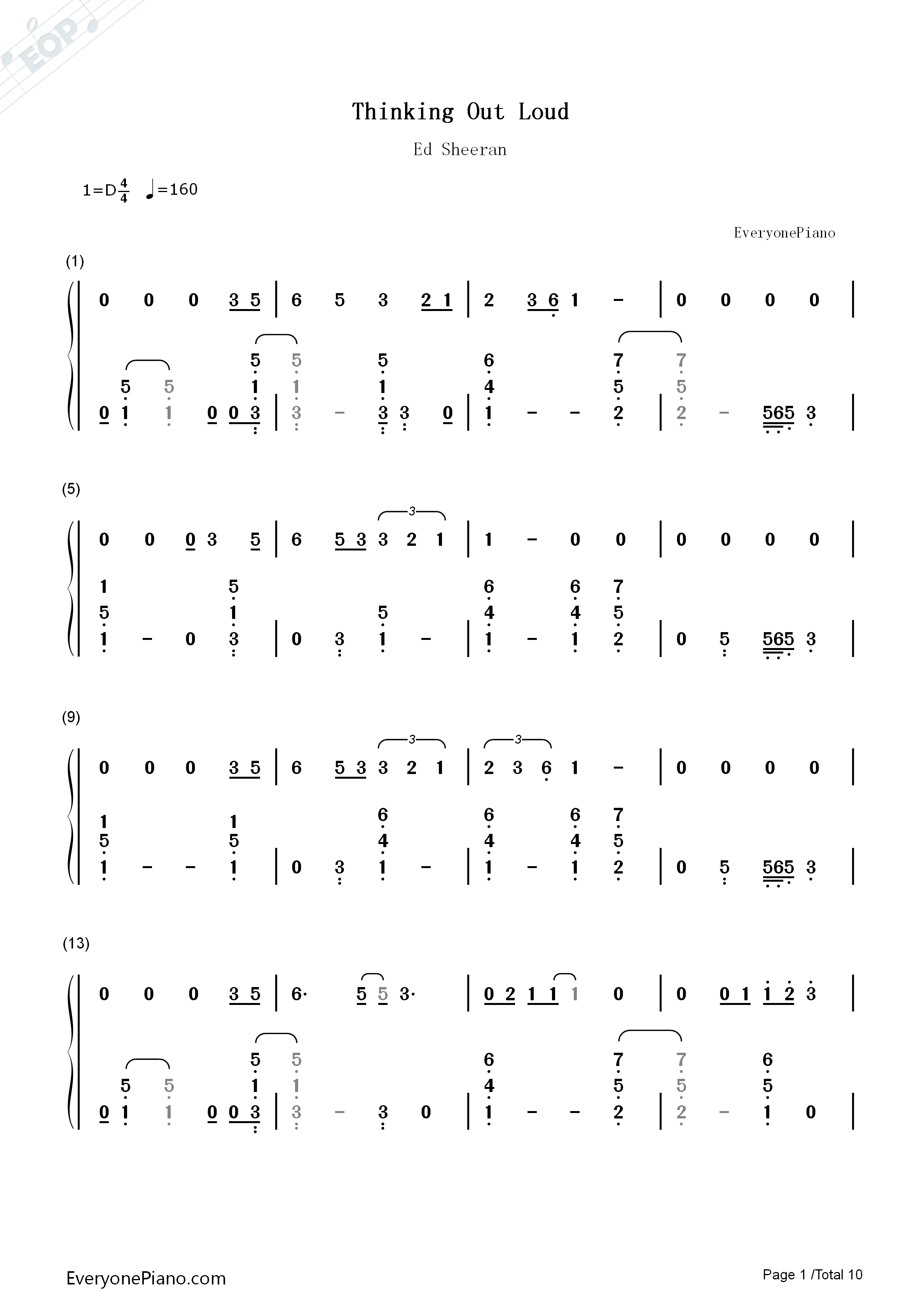 Ed Sheeran Thinking Out Loud Chords Thinking Out Loud Ed Sheeran Numbered Musical Notation Preview