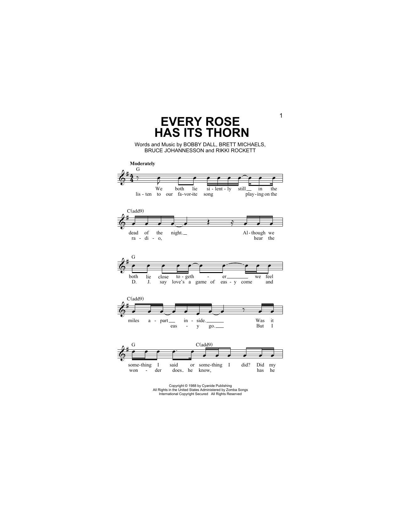Every Rose Has Its Thorn Chords Every Rose Has Its Thorn Lead Sheet Fake Book Print Sheet Music