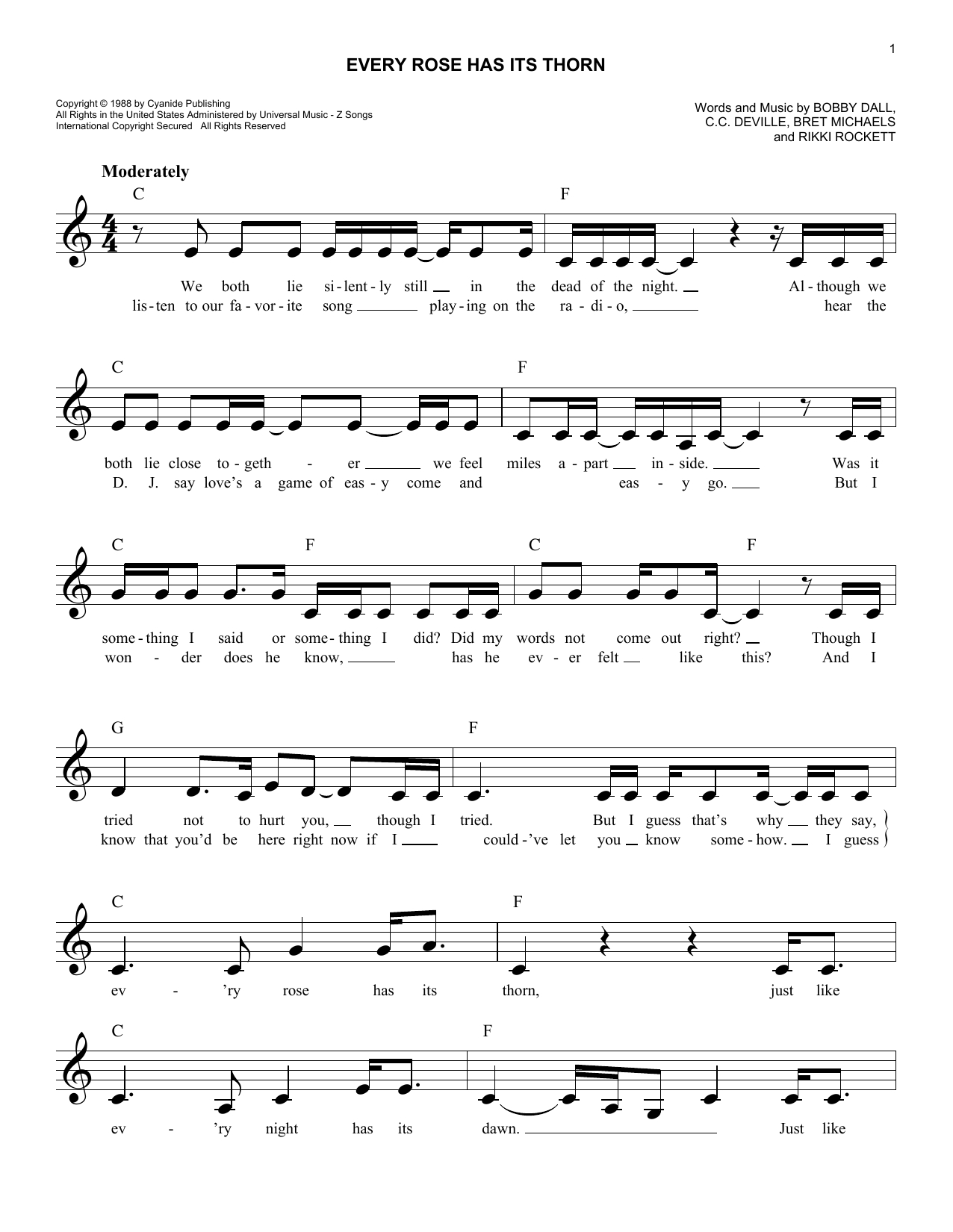 Every Rose Has Its Thorn Chords Every Rose Has Its Thorn Poison Piano Vocal Guitar Right Hand Melody Digital Sheet Music