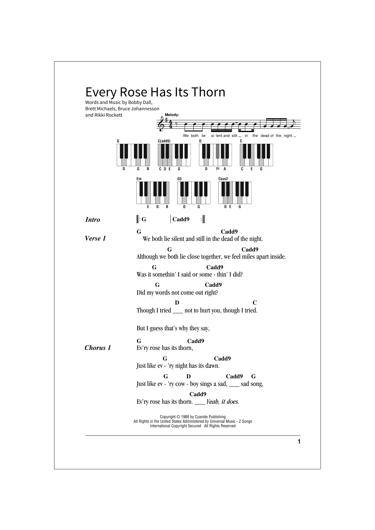Every Rose Has Its Thorn Chords Every Rose Has Its Thorn School Of Rock Keys Print Sheet Music