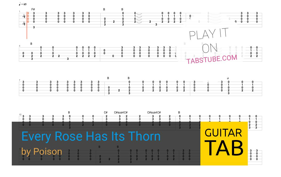 Every Rose Has Its Thorn Chords Poison Every Rose Has Its Thorn Guitar Tab And Chords Online