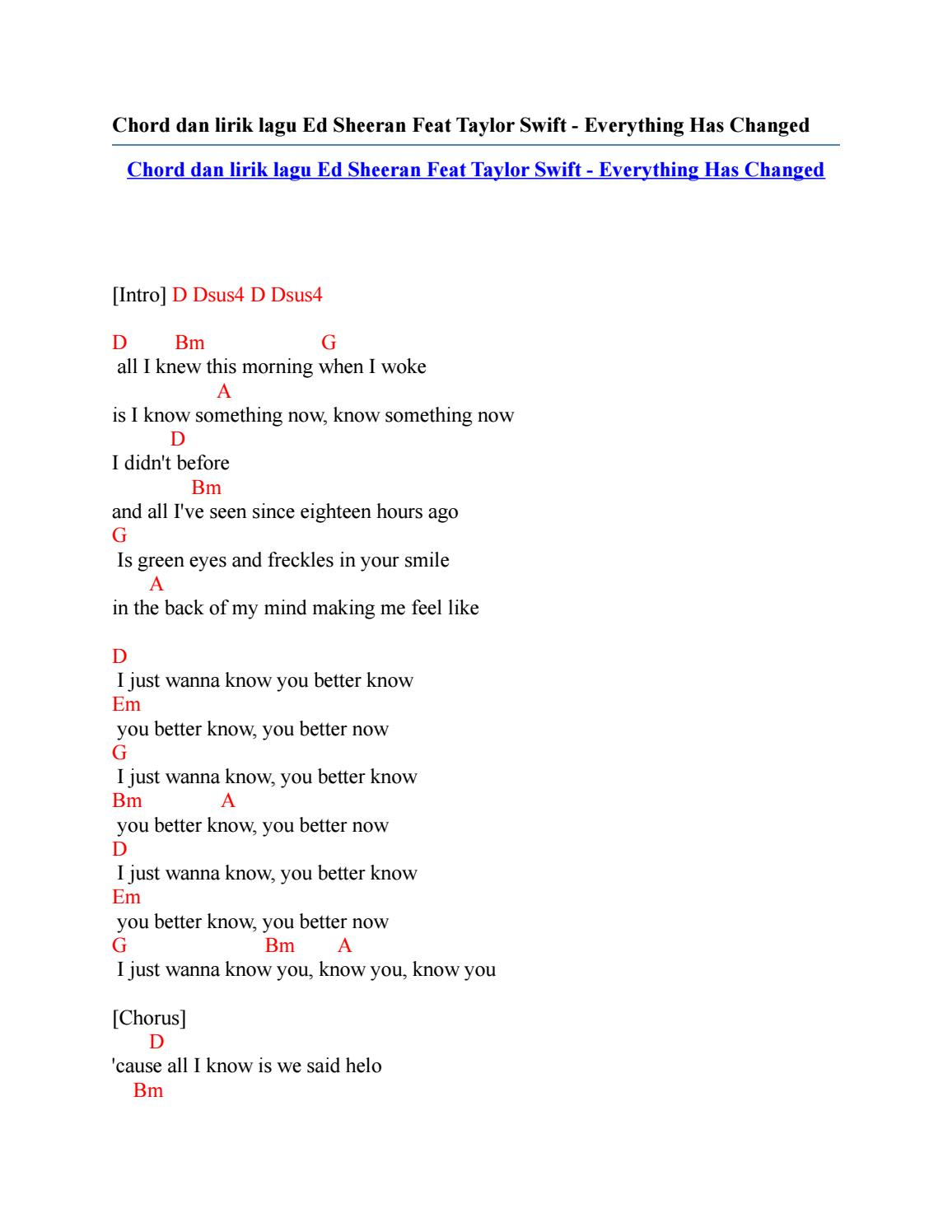 Everything Has Changed Chords Chord Dan Lirik Lagu Ed Sheeran Feat Taylor Swift Everything Has