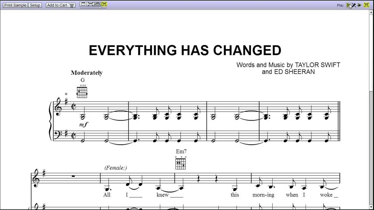 Everything Has Changed Chords Everything Has Changed Piano Sheet Music Teaser