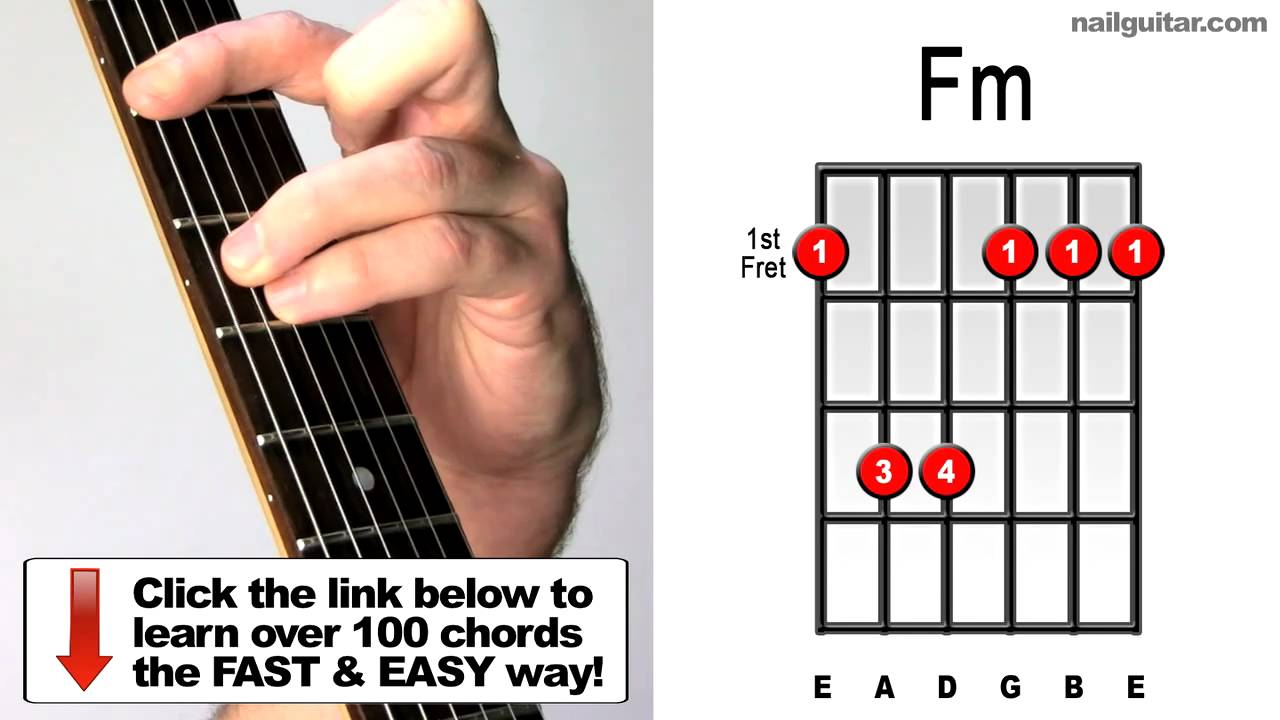 F M Chord How To Play Fm Minor Bar Chords For Guitar
