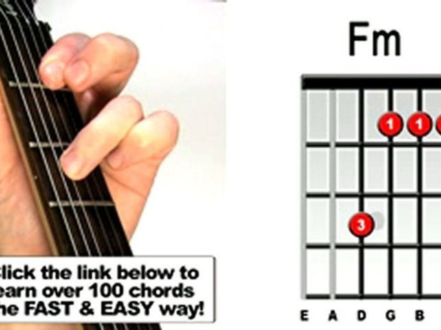 F M Guitar Chord How To Play Fm Guitar Chord Beginners Acoustic Video Dailymotion