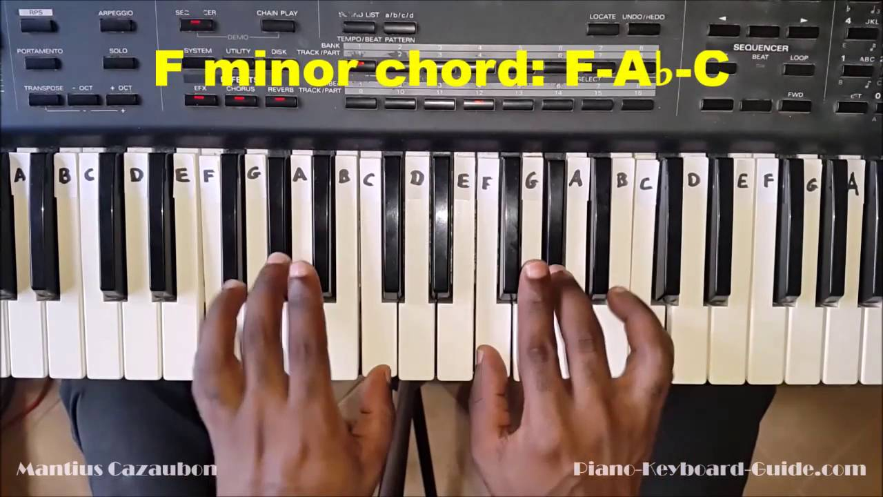 F M Piano Chord How To Play The F Minor Chord On Piano And Keyboard Fm Fmin
