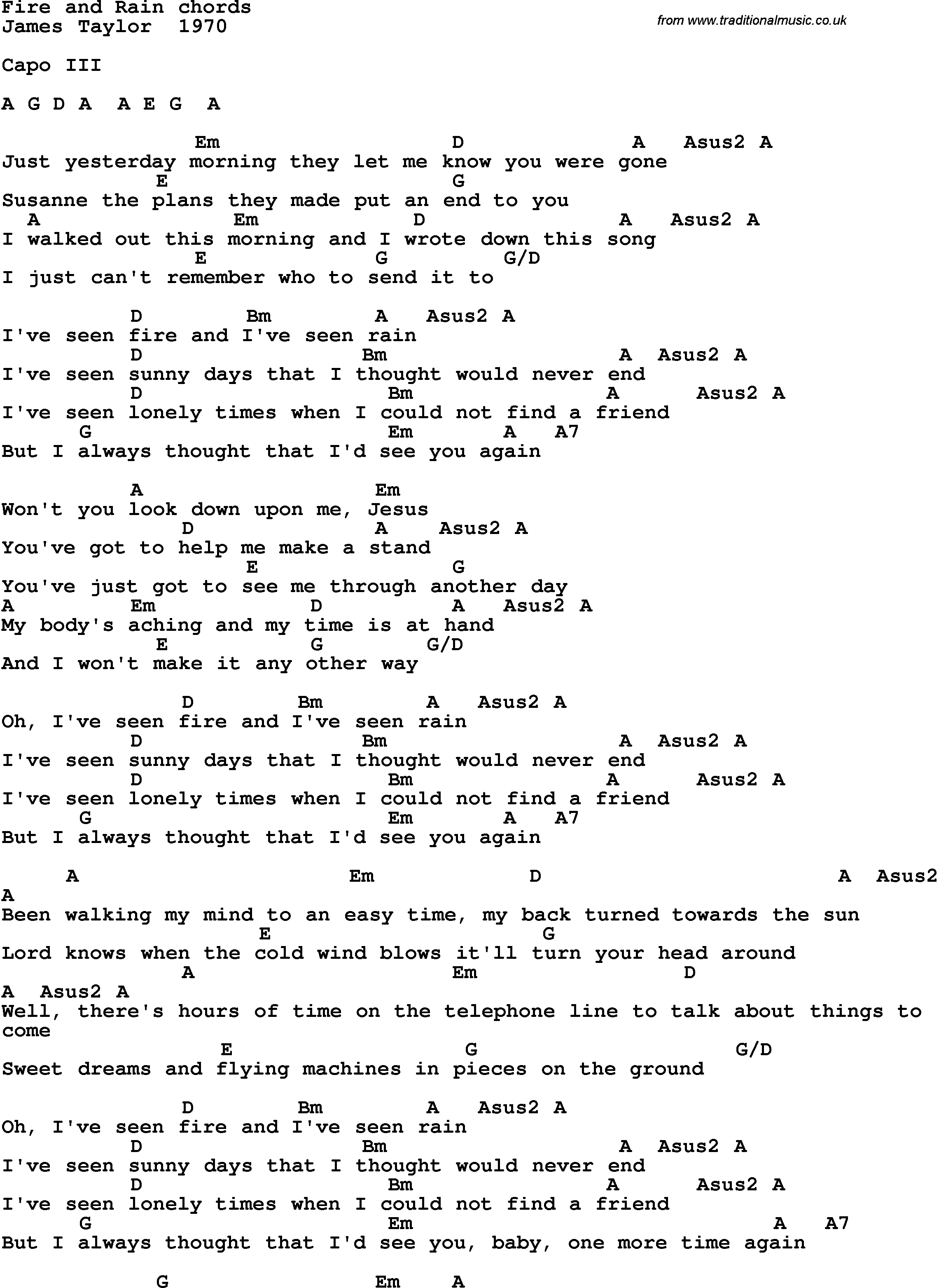 Fire And Rain Chords Song Lyrics With Guitar Chords For Fire And Rain