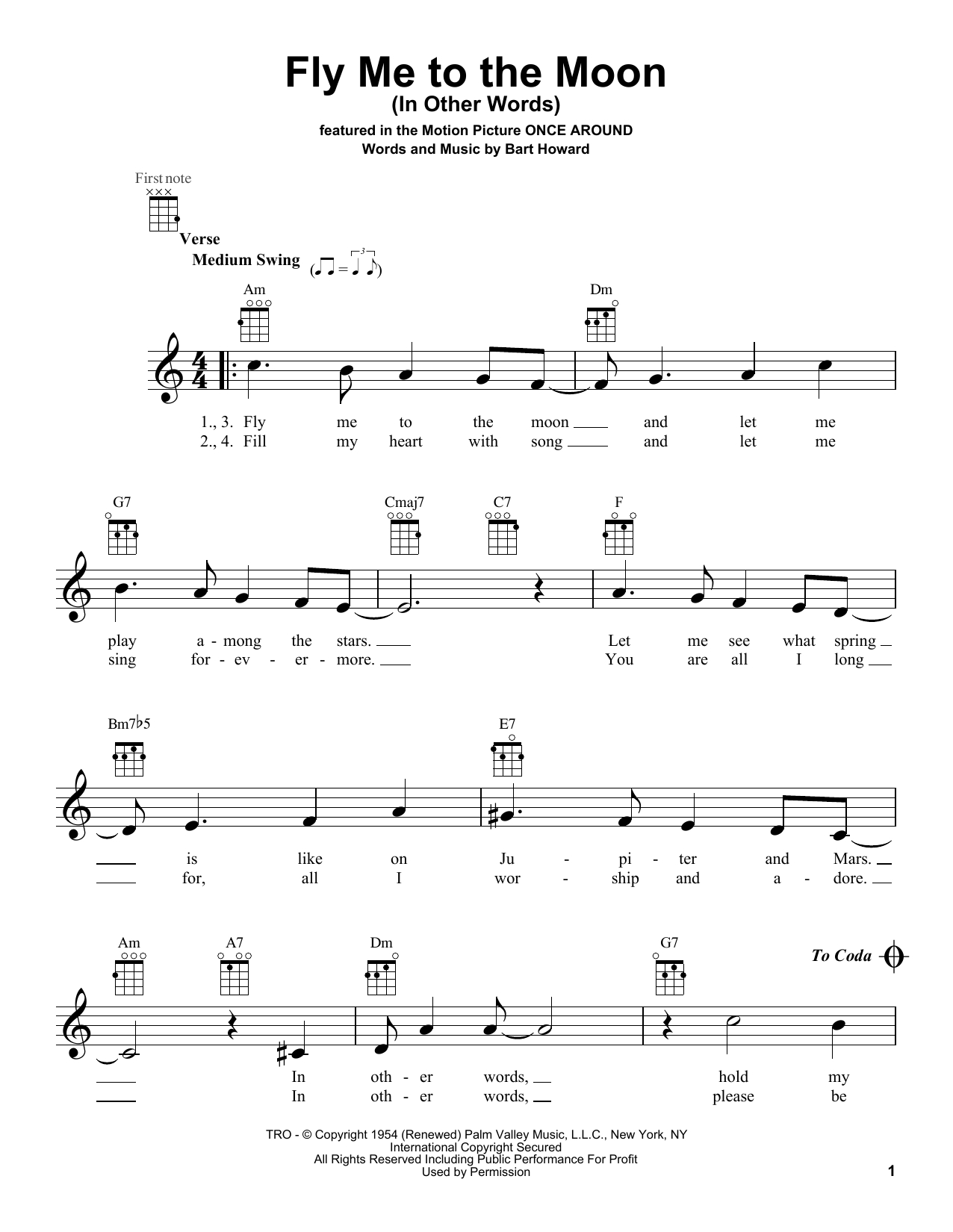 Fly Me To The Moon Chords Bob Darin Fly Me To The Moon In Other Words Sheet Music Notes Chords Download Printable Ukulele Sku 160205