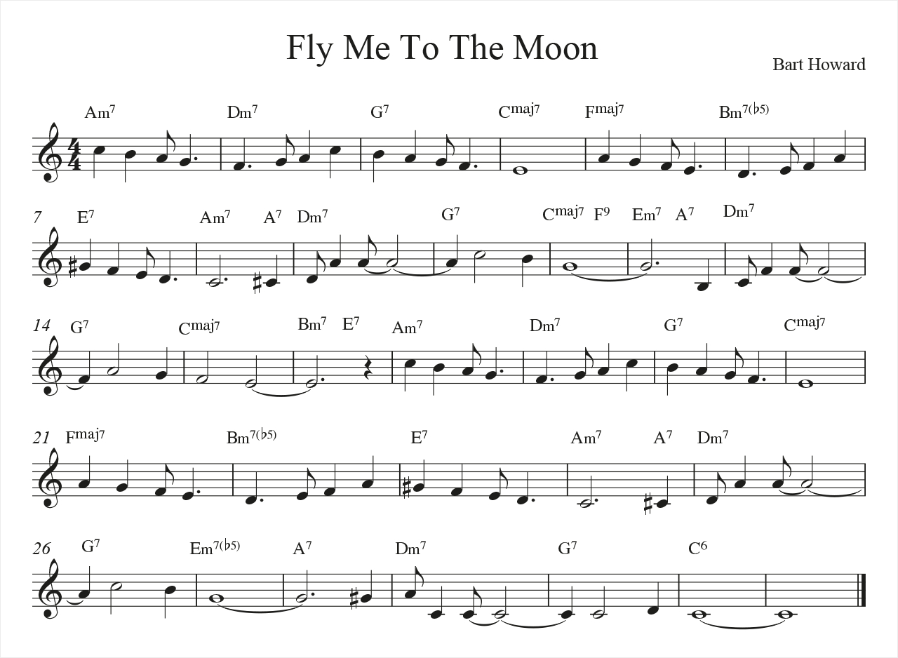 Fly Me To The Moon Chords Chords Substitution And Chord Melody Online Book