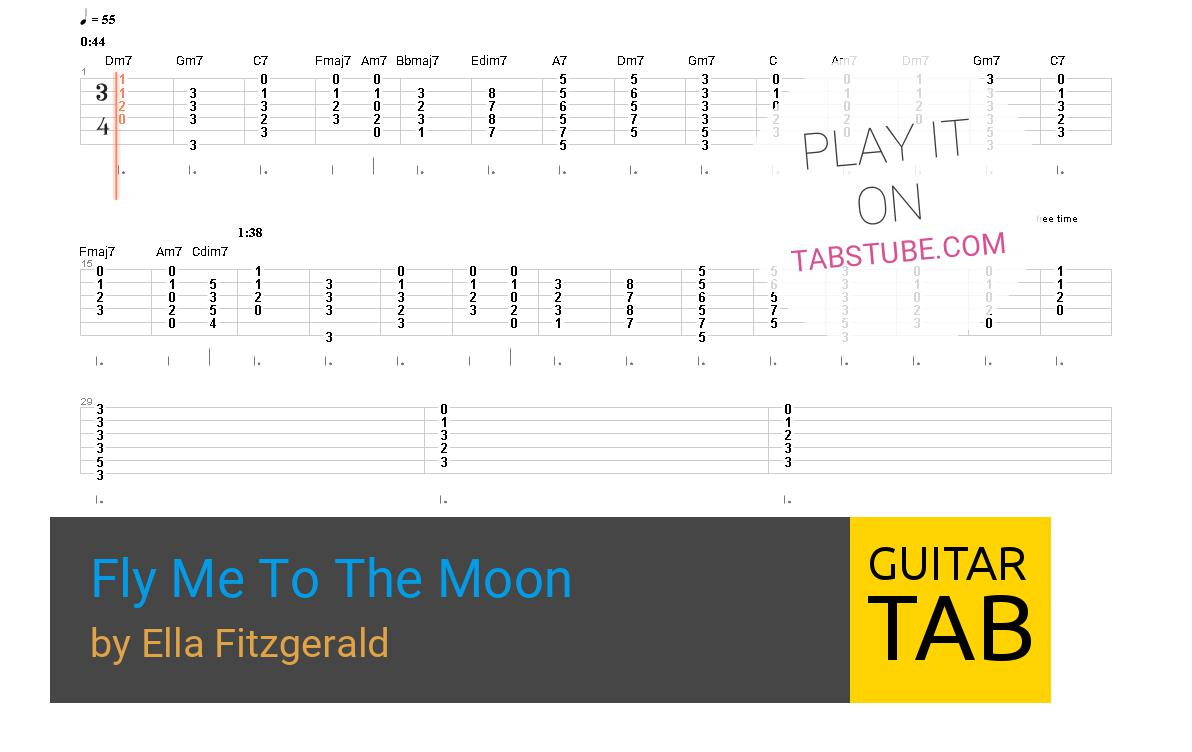 Fly Me To The Moon Chords Ella Fitzgerald Fly Me To The Moon Guitar Tab And Chords Online