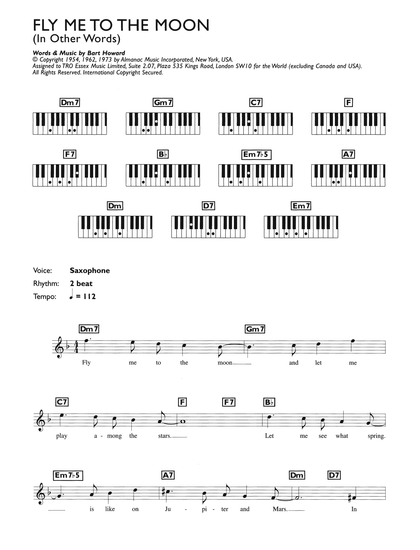 Fly Me To The Moon Chords Fly Me To The Moon In Other Words Julie London Keyboard Abridged Digital Sheet Music