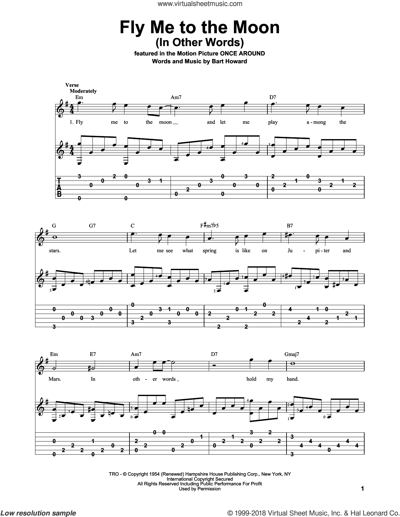Fly Me To The Moon Chords Sinatra Fly Me To The Moon In Other Words Sheet Music For Guitar Solo