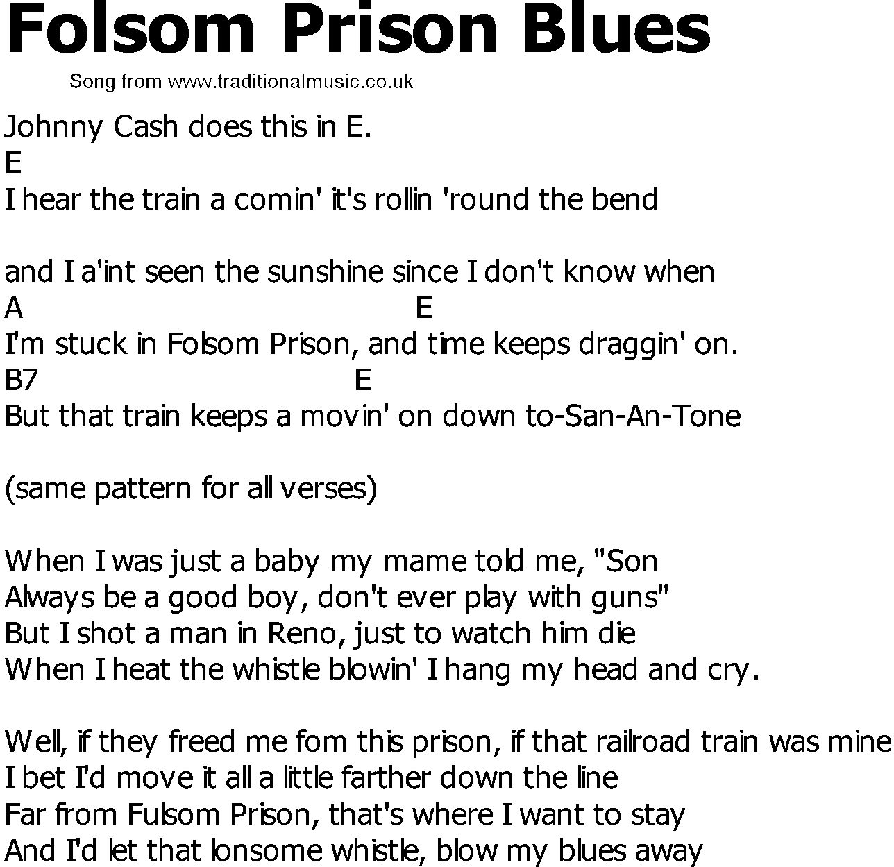Folsom Prison Blues Chords Old Country Song Lyrics With Chords Folsom Prison Blues