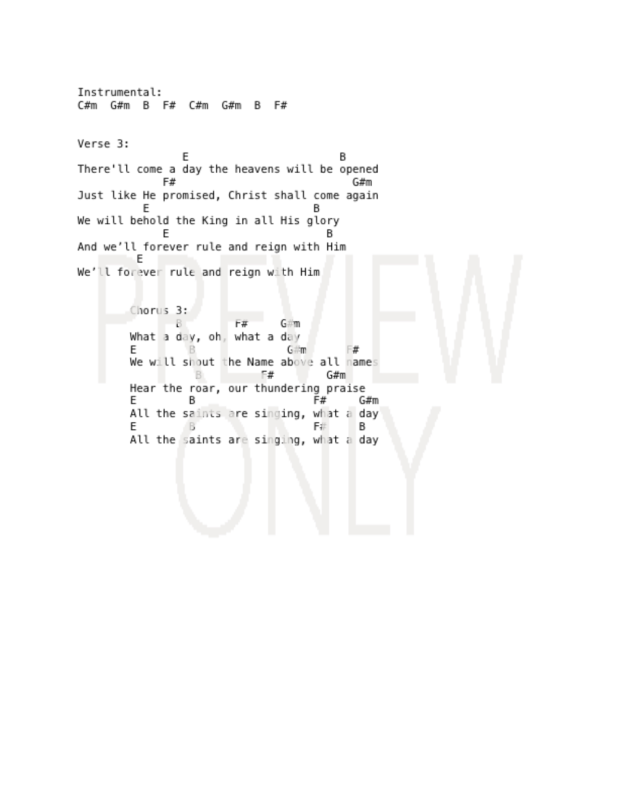 Forever Reign Chords What A Day Lead Sheet Lyrics Chords Alisa Turner