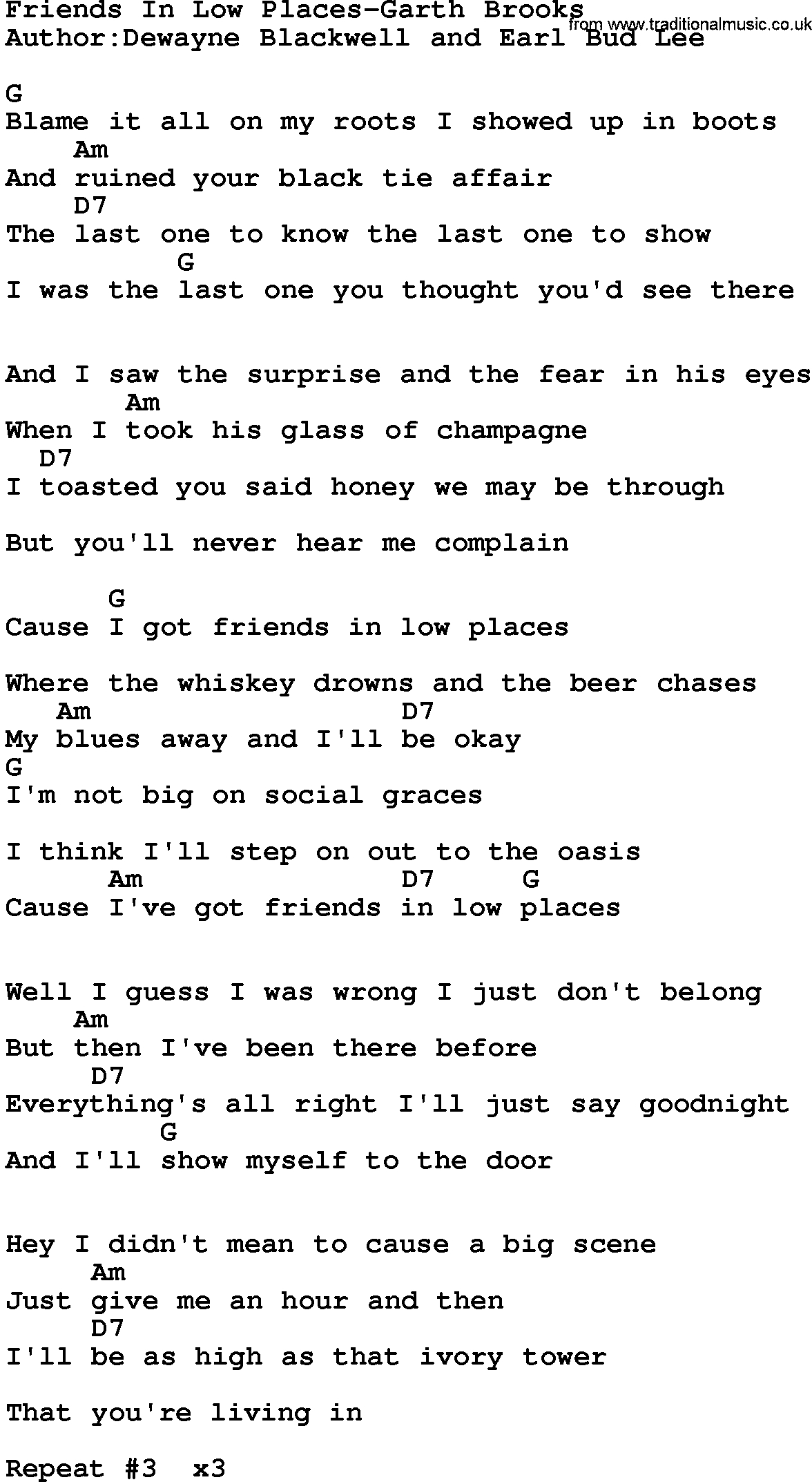 Friends In Low Places Chords Country Musicfriends In Low Places Garth Brooks Lyrics And Chords