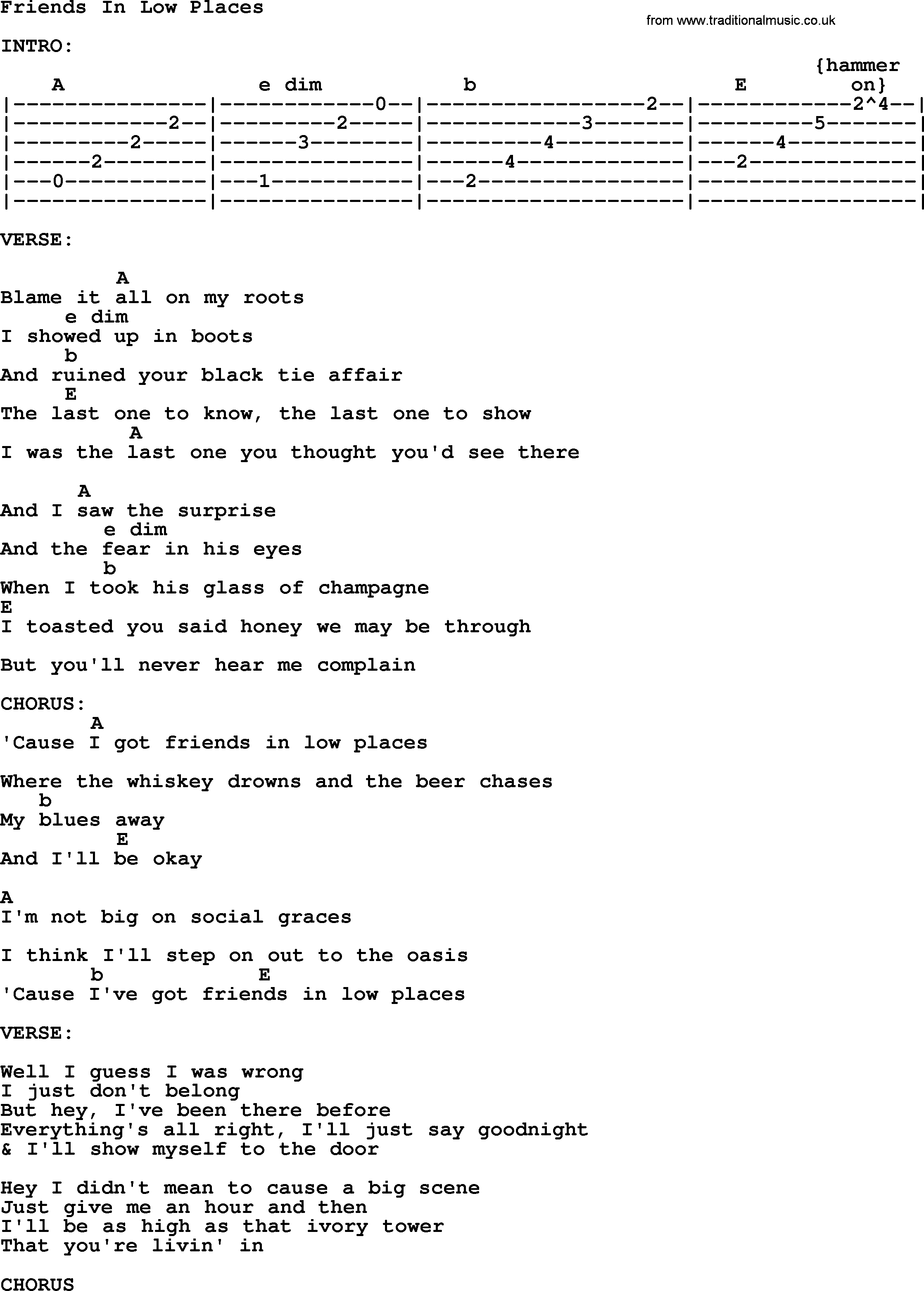 Friends In Low Places Chords Friends In Low Places Garth Brooks Lyrics And Chords