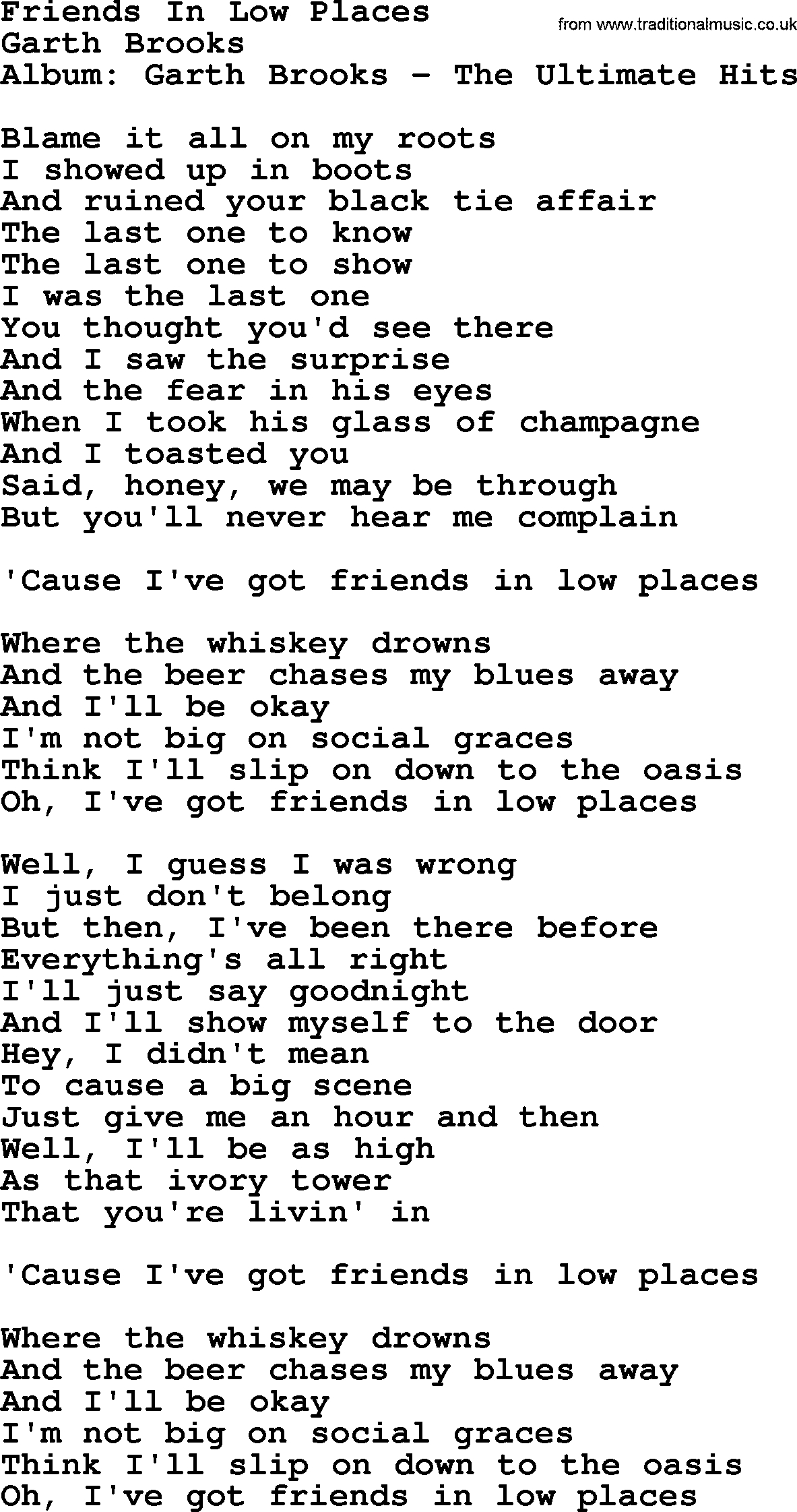 Friends In Low Places Chords Friends In Low Places Garth Brooks Lyrics