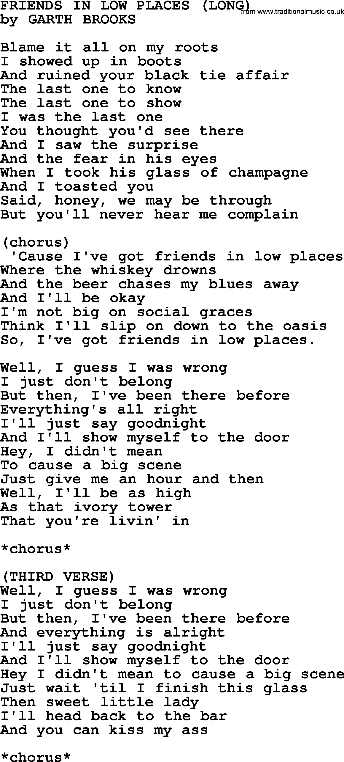 Friends In Low Places Chords Friends In Low Places Long Garth Brooks Lyrics