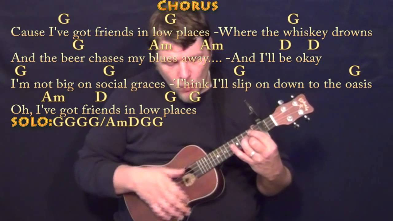 Friends In Low Places Chords Friends In Low Places Ukulele Cover Lesson With Chordslyrics Capo 2nd