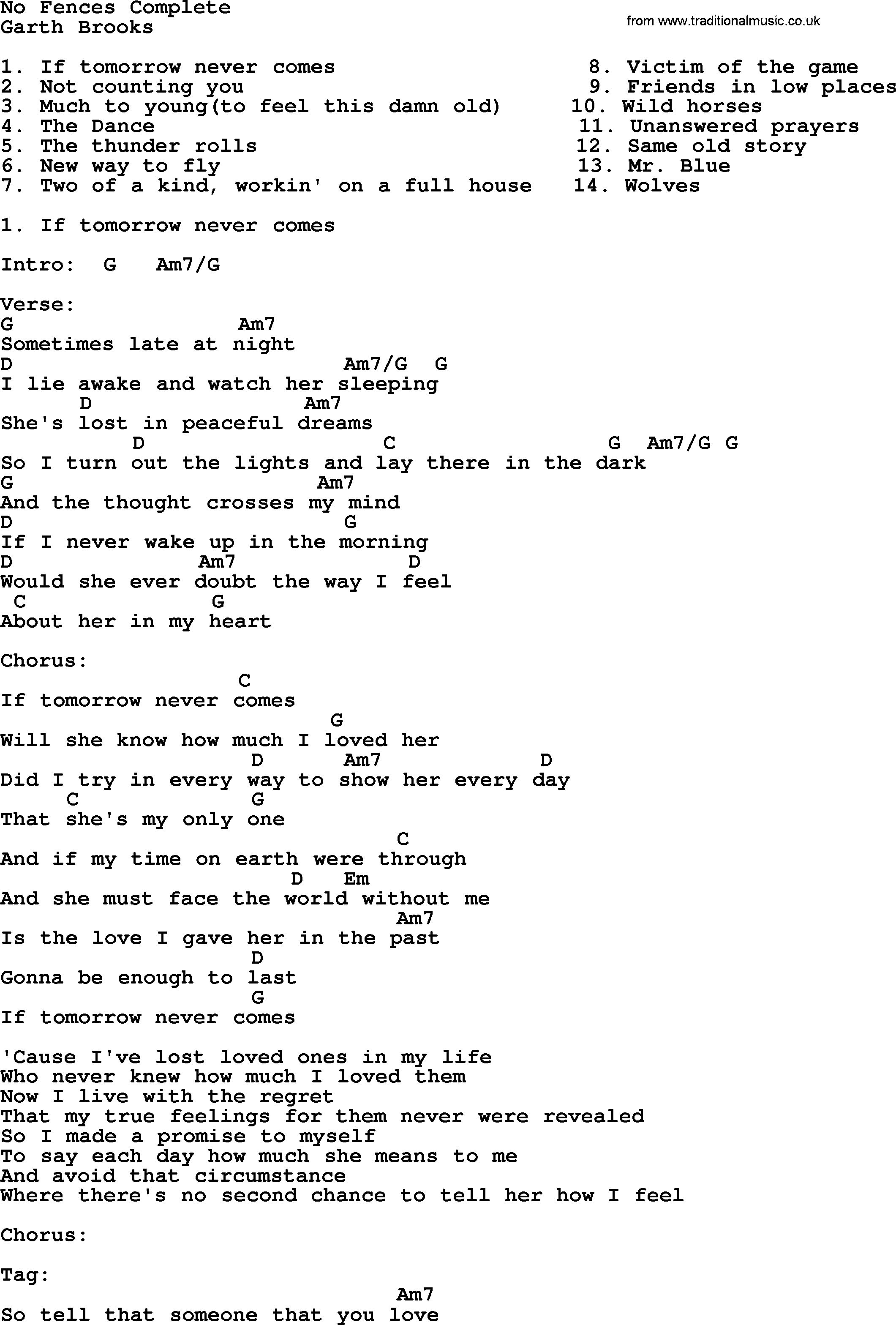 Friends In Low Places Chords No Fences Complete Garth Brooks Lyrics And Chords