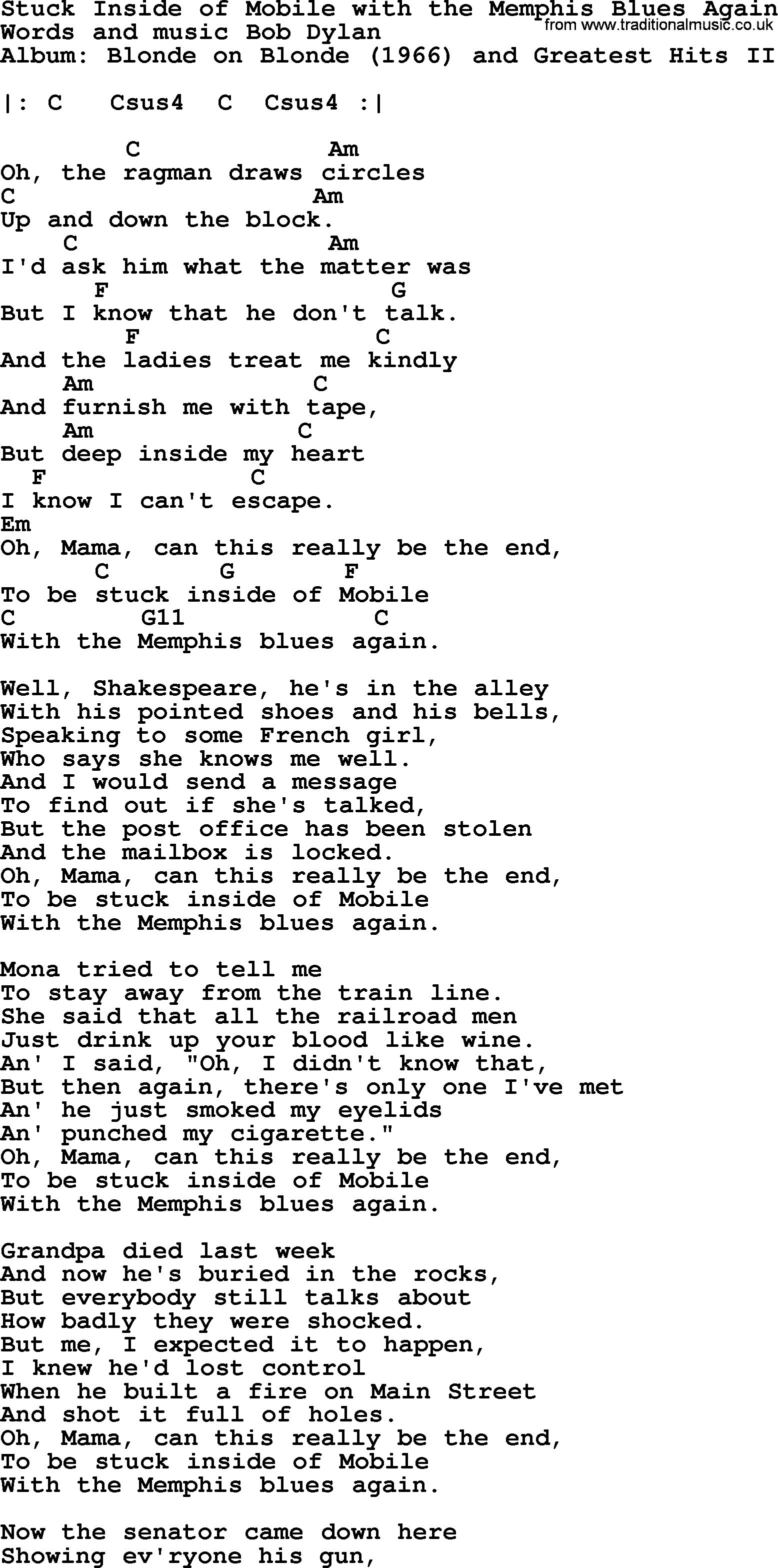 From The Inside Out Chords Bob Dylan Song Stuck Inside Of Mobile With The Memphis Blues Again