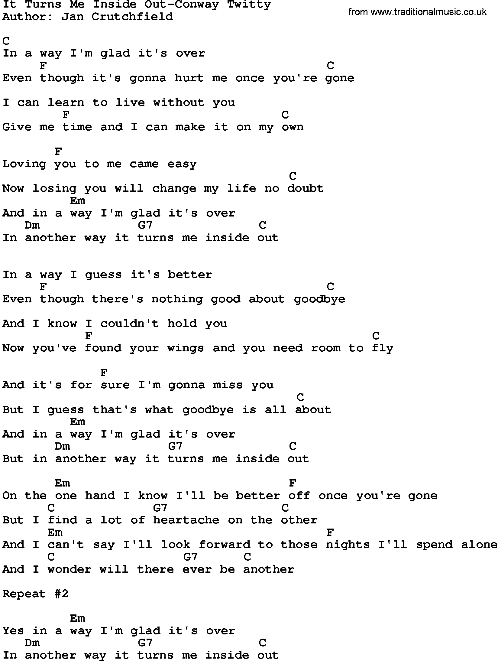 From The Inside Out Chords Country Musicit Turns Me Inside Out Conway Twitty Lyrics And Chords