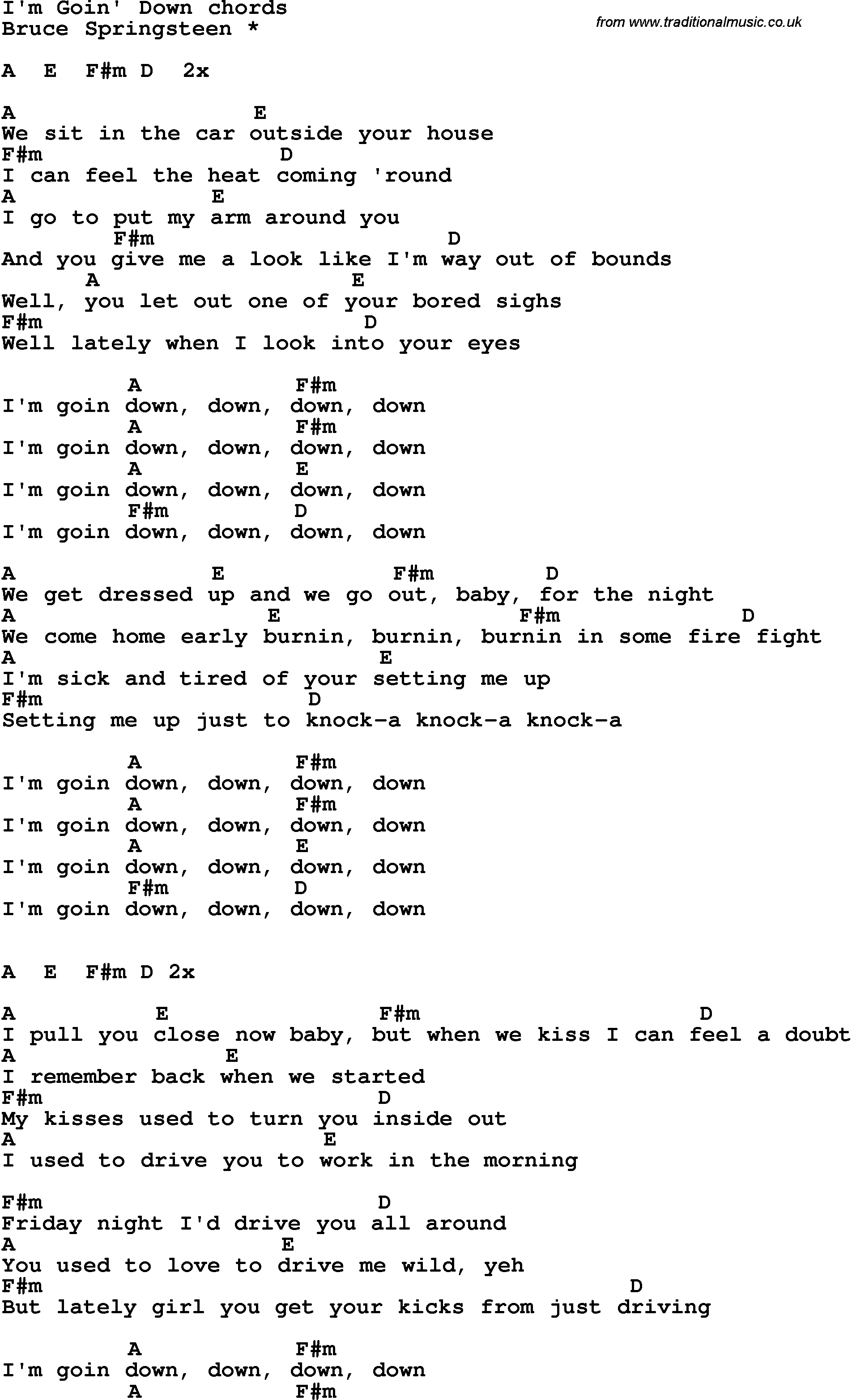 From The Inside Out Chords Song Lyrics With Guitar Chords For Im Goin Down